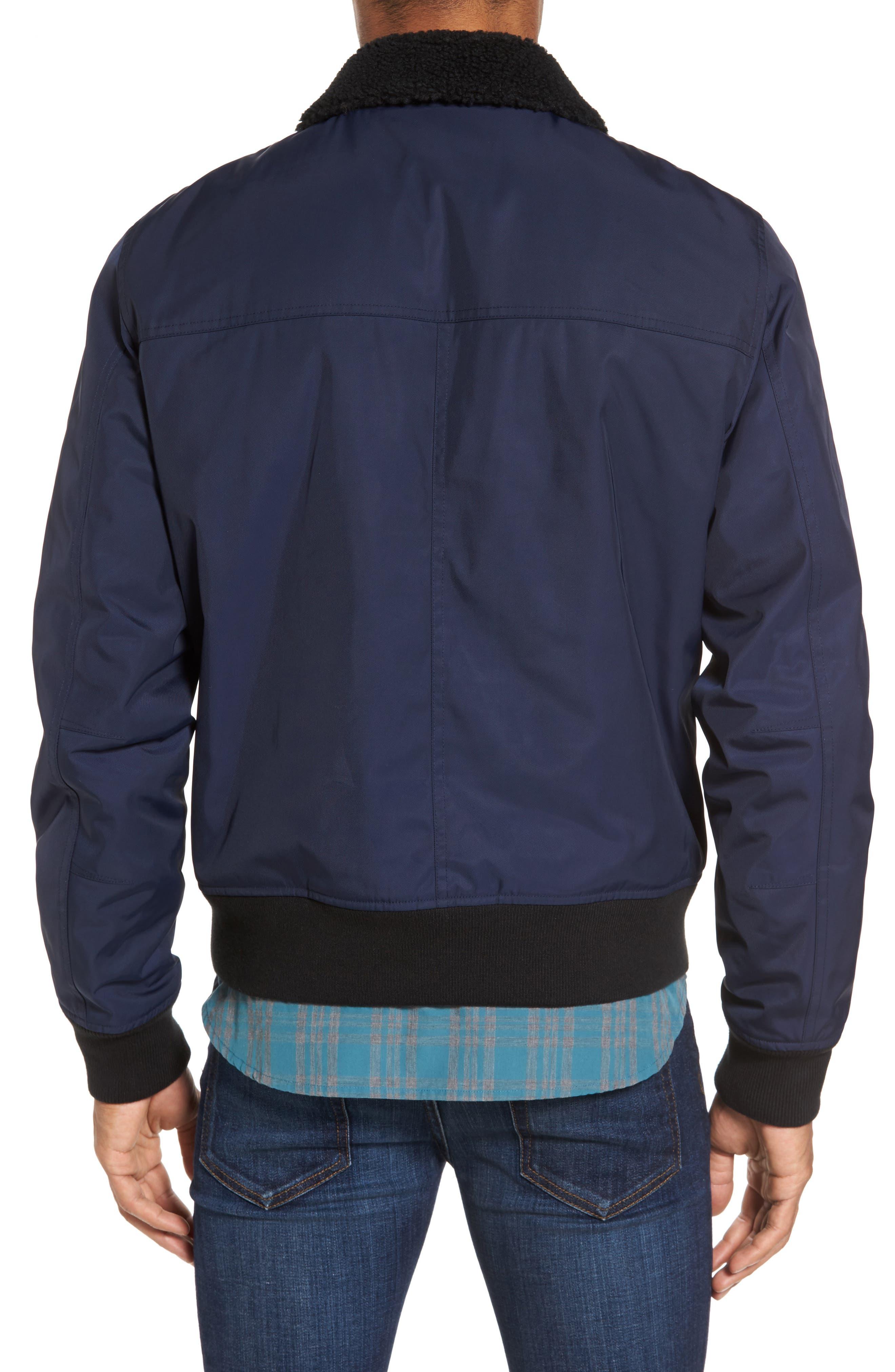 Faux Shearling Trim Bomber Jacket,                             Alternate thumbnail 2, color,