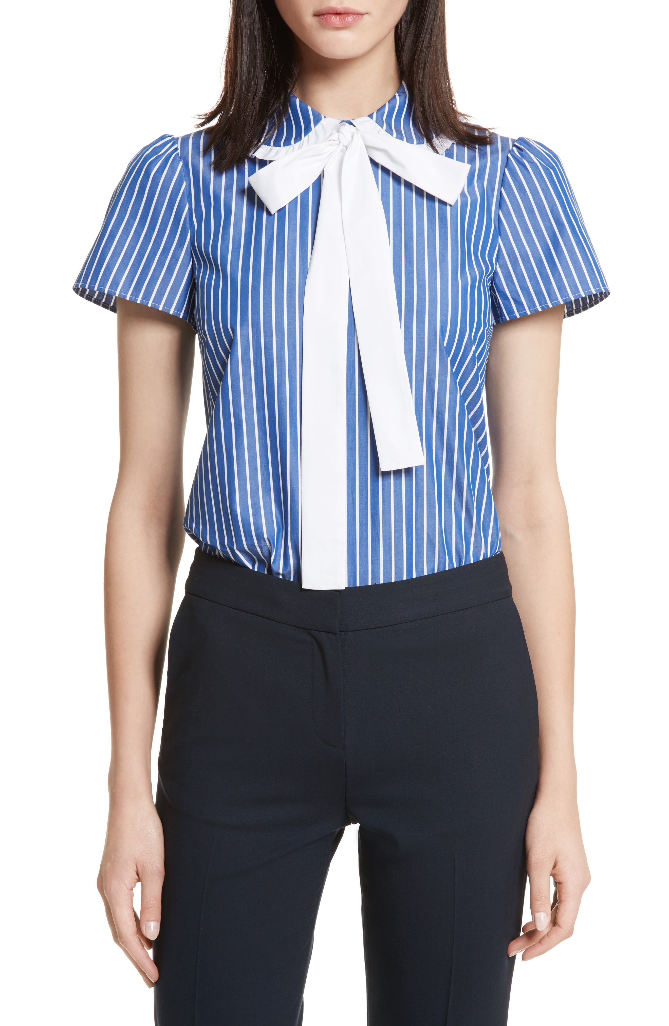 Tie Neck Stripe Cotton Poplin Top,                         Main,                         color, 410