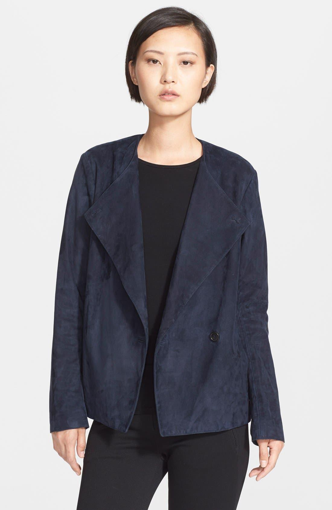 THEORY 'Venizka' Bonded Suede Jacket, Main, color, 410