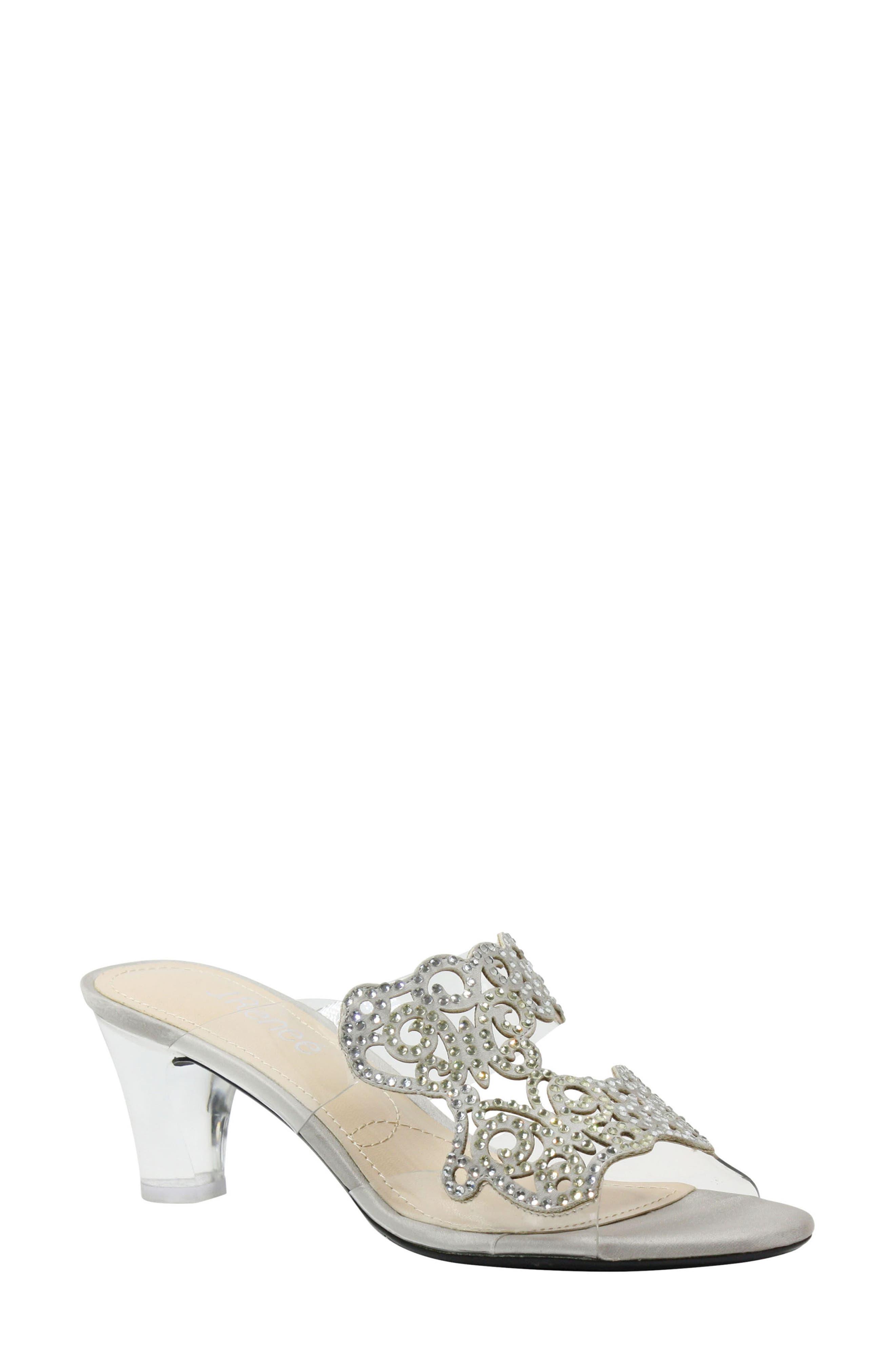Sabreen Crystal Embellished Sandal,                             Main thumbnail 1, color,                             SILVER/ CLEAR