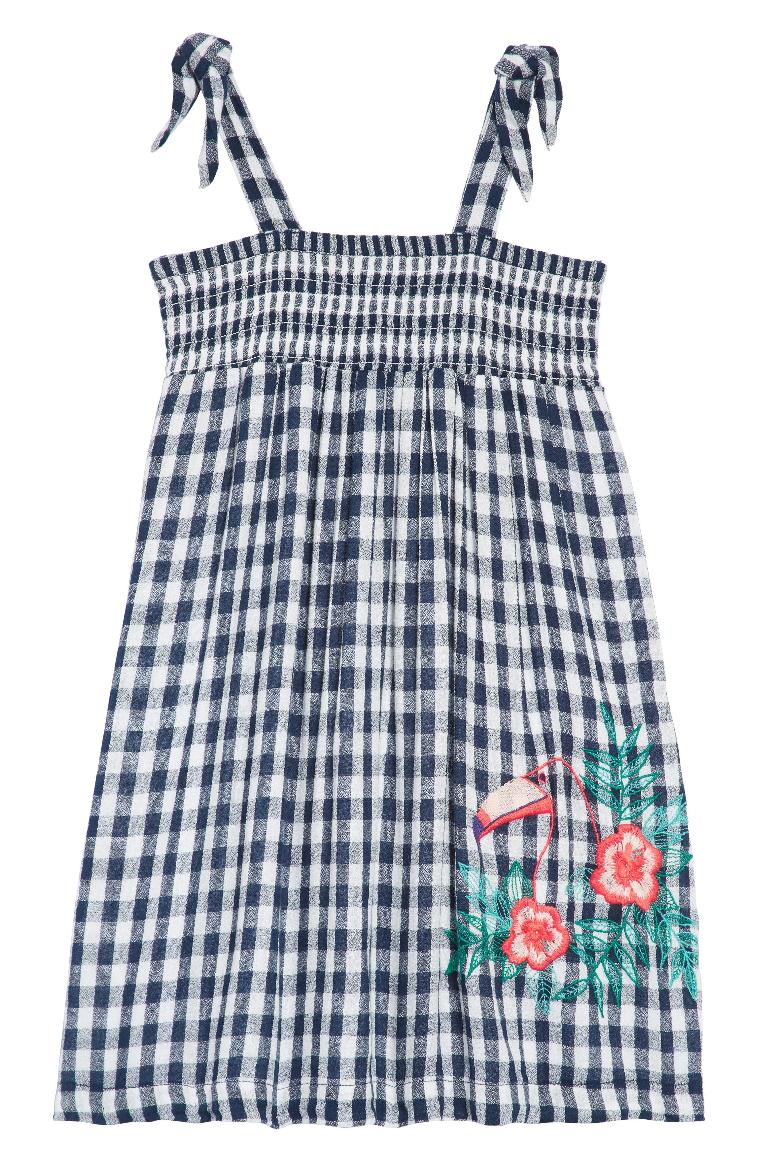 TUCKER + TATE Smocked Gingham Dress, Main, color, 410