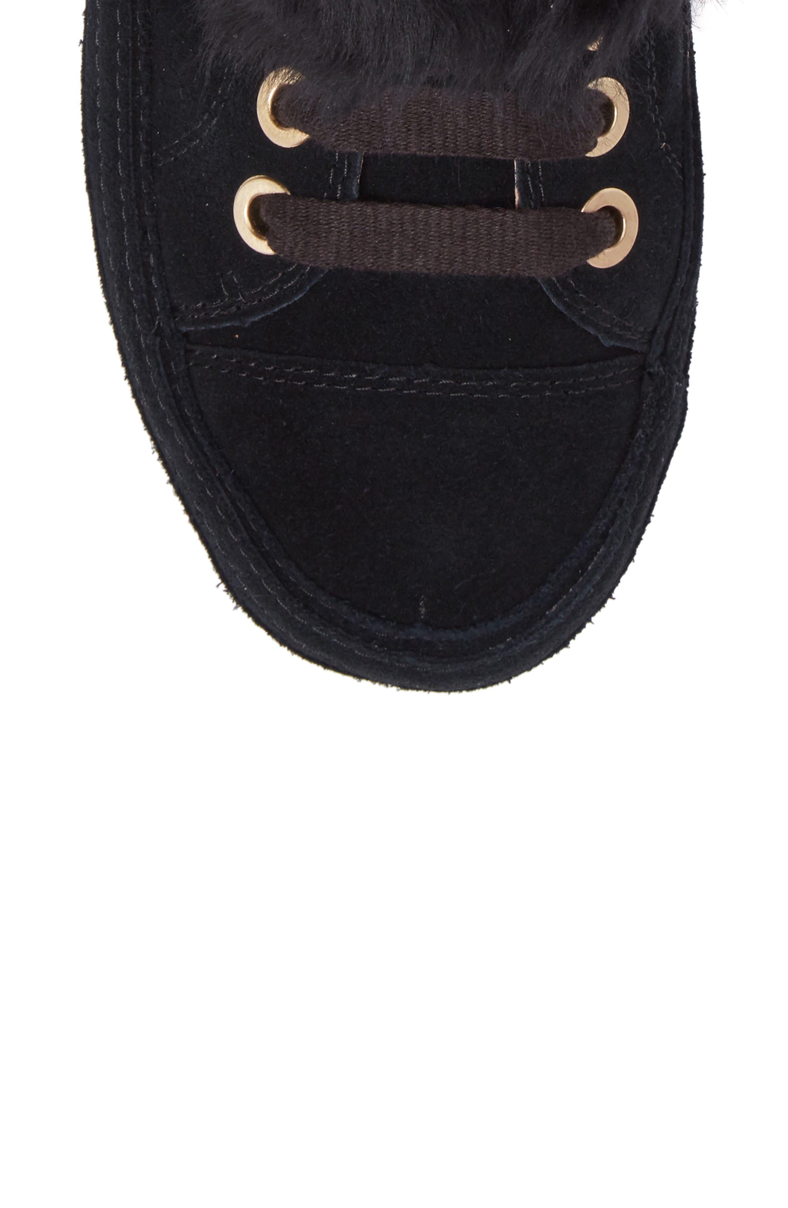 Antoine Fur Cuff Sneaker,                             Alternate thumbnail 5, color,                             001