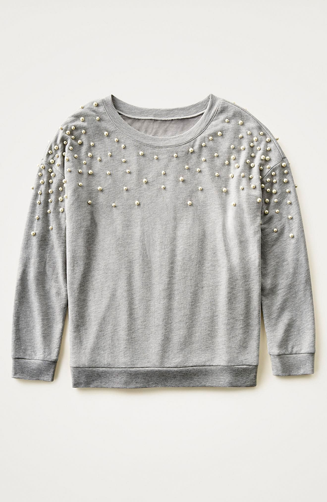 Beaded Sweatshirt,                             Alternate thumbnail 7, color,                             001