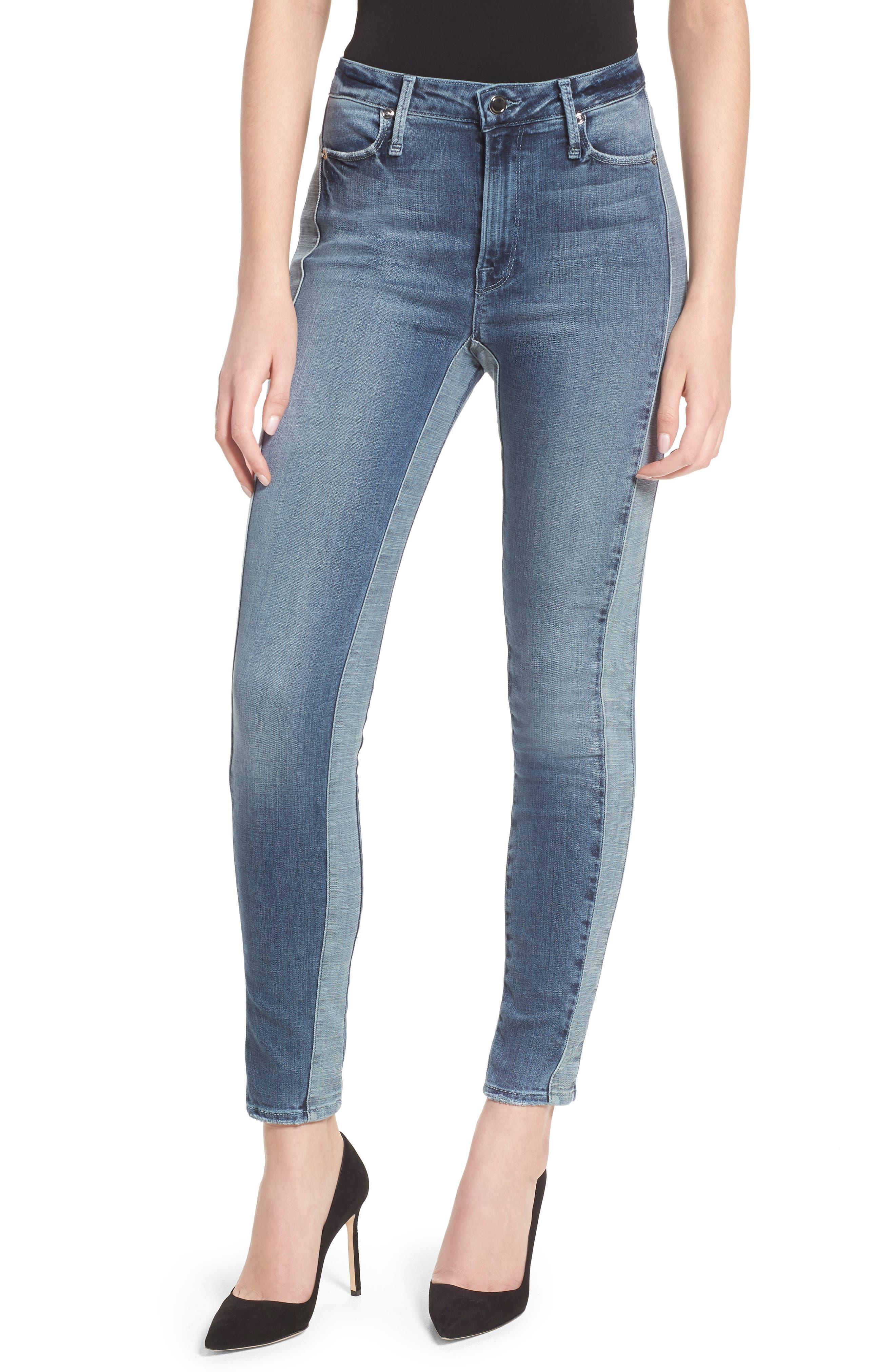 Good Waist Piecing High Waist Skinny Jeans,                             Main thumbnail 1, color,                             401