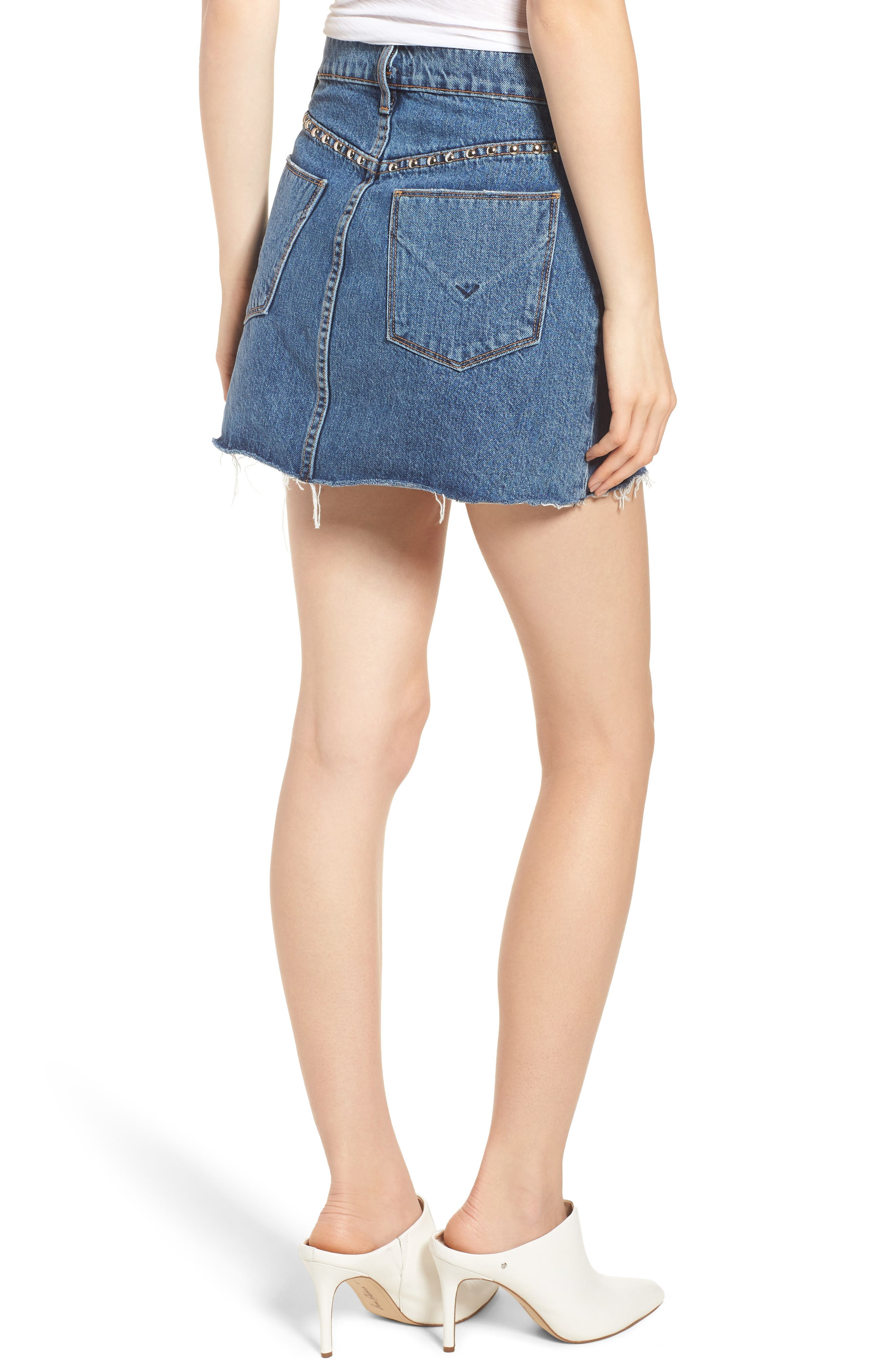 The Viper Cutoff Denim Miniskirt,                             Alternate thumbnail 2, color,                             422