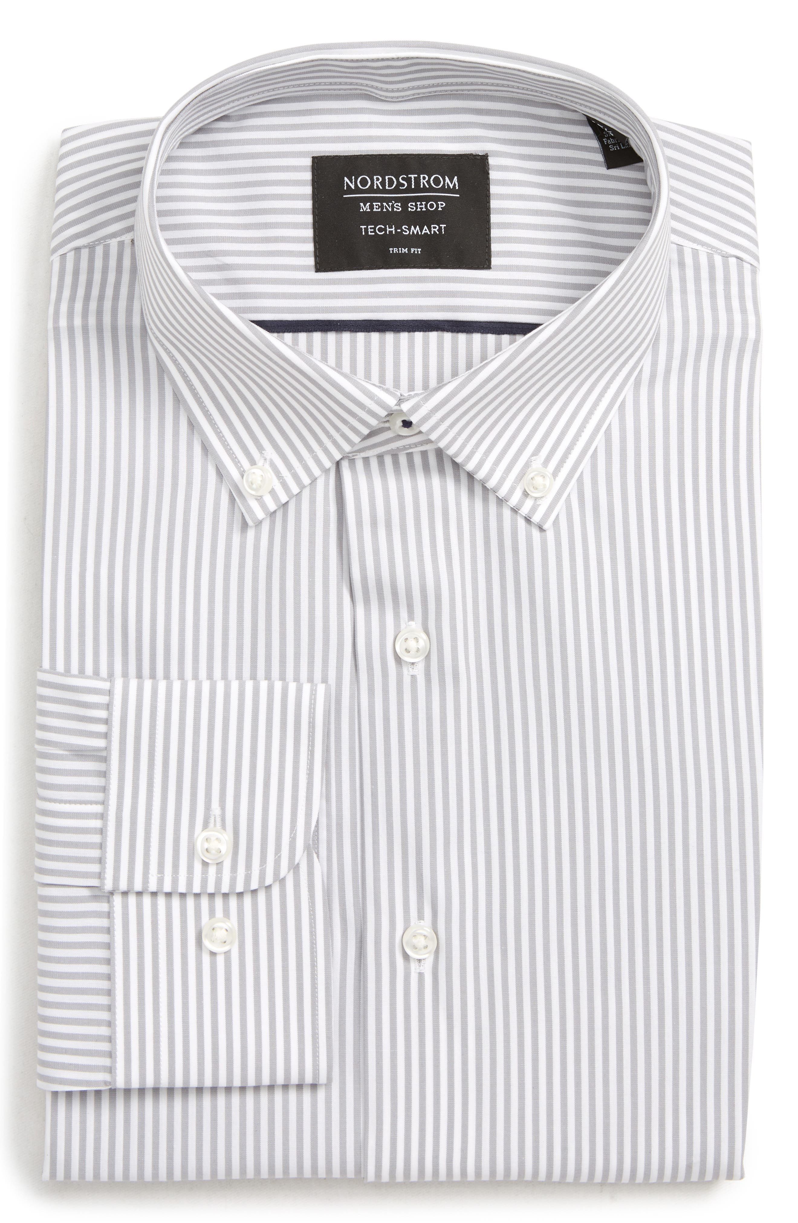 Tech-Smart Trim Fit Stretch Stripe Dress Shirt, Main, color, GREY SLEET
