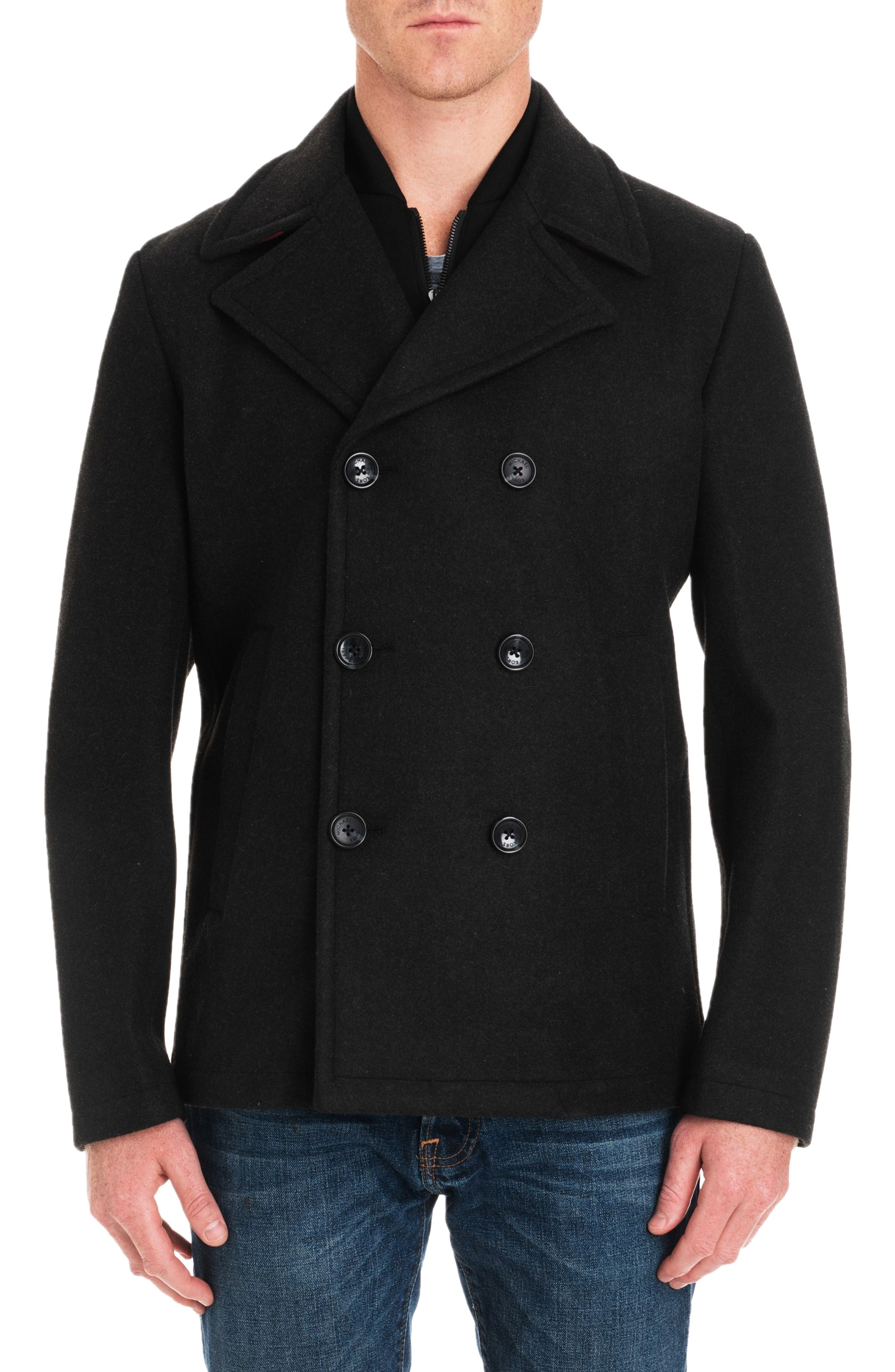 Seventh Street Peacoat,                             Main thumbnail 1, color,                             LODEN HEATHER