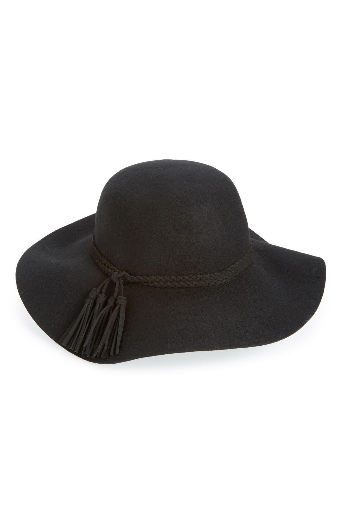 Tassel Band Floppy Hat,                             Main thumbnail 1, color,                             001
