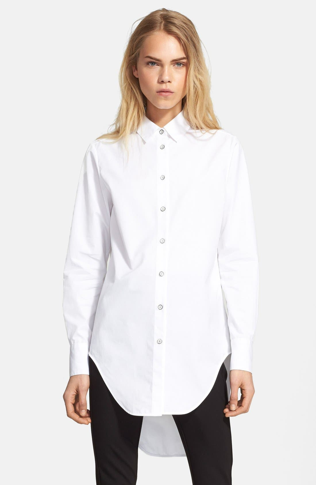 'Nightingale' High/Low Cotton Shirt, Main, color, 100