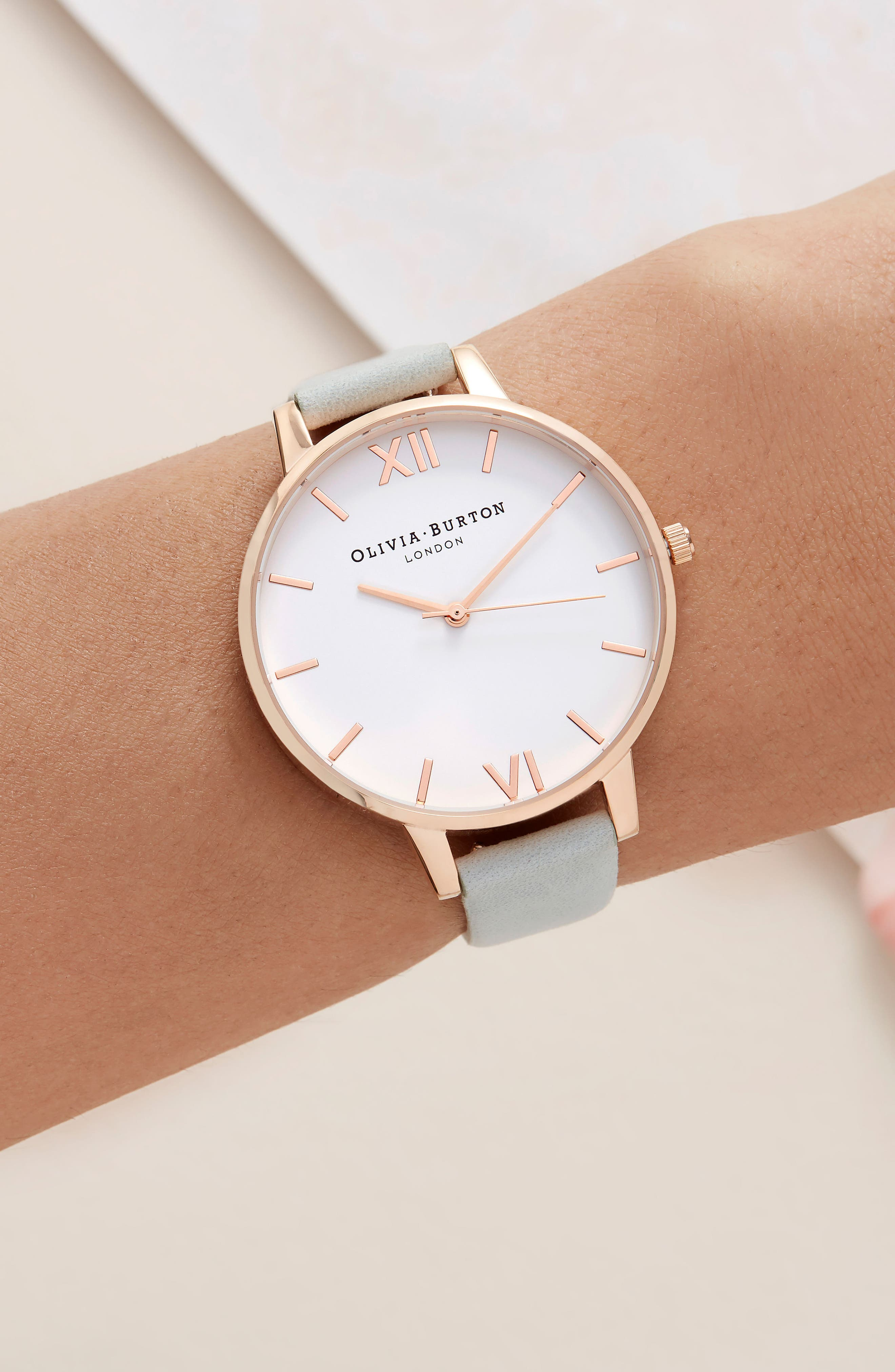 Leather Strap Watch, 38mm,                             Alternate thumbnail 6, color,                             SAGE/ WHITE/ ROSE GOLD