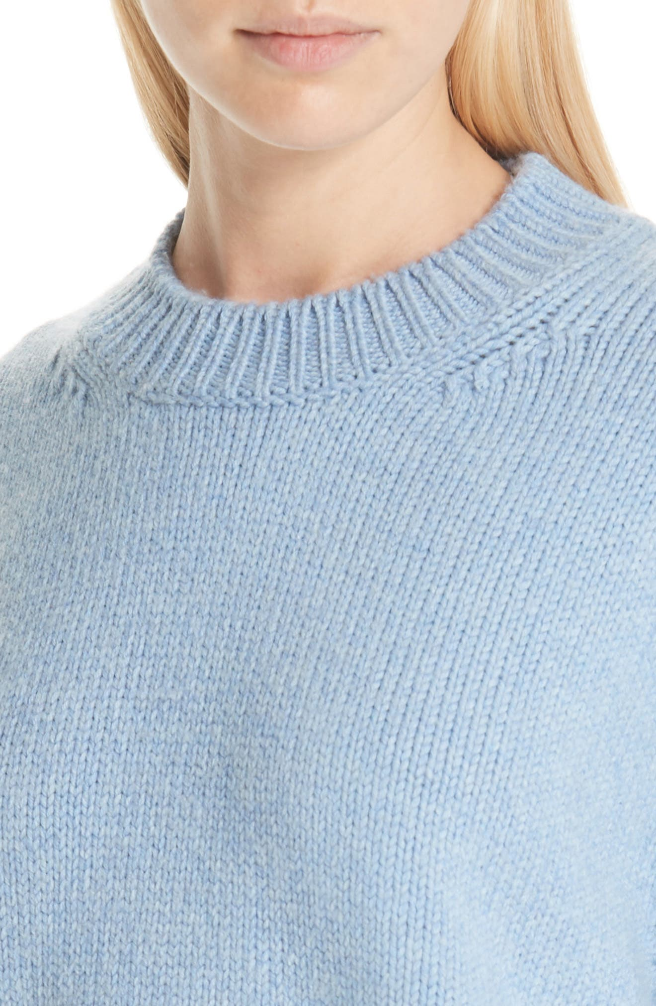 Merino Wool Sweater,                             Alternate thumbnail 4, color,                             SKY BLUE