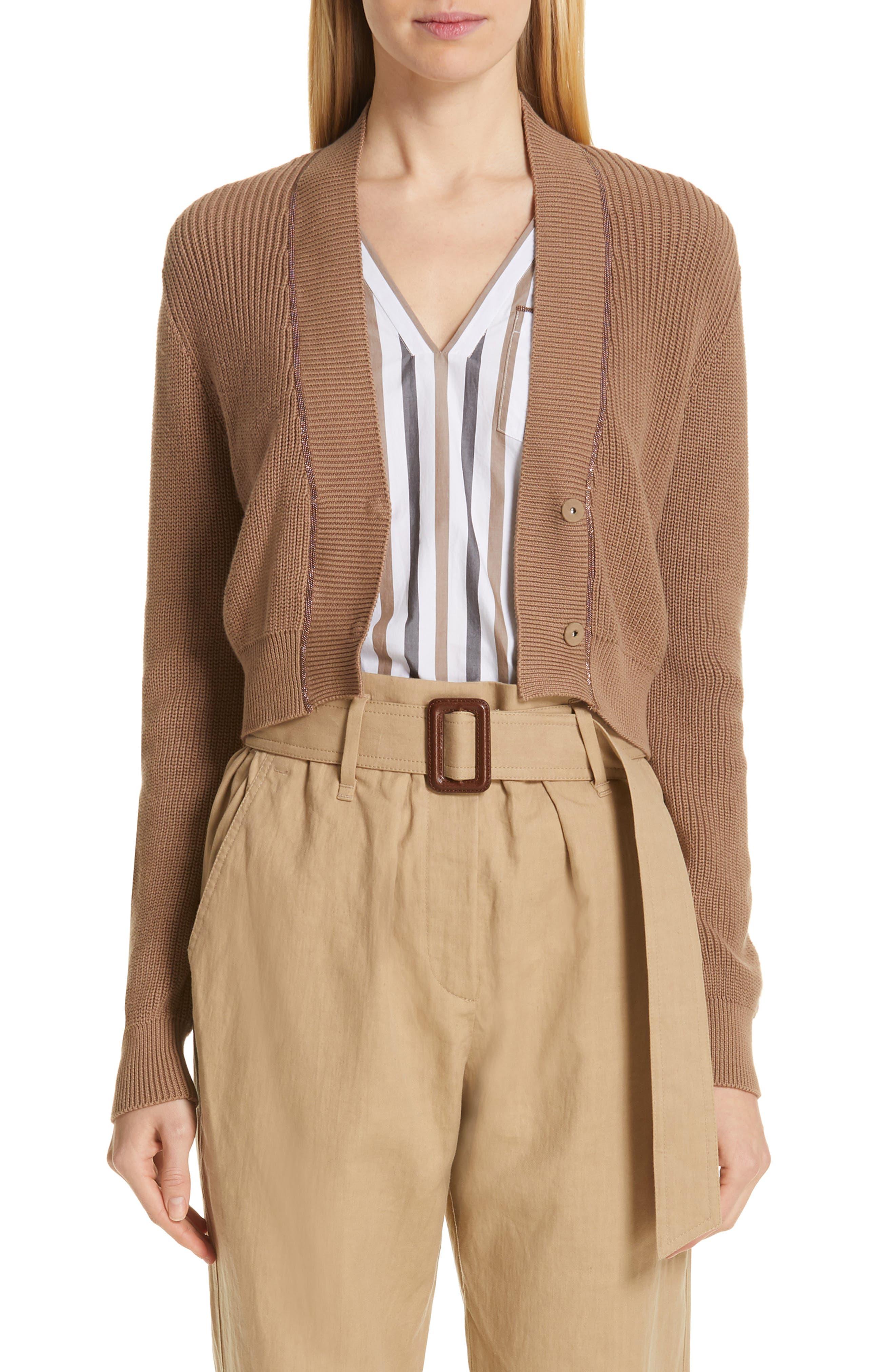 Monili Trim Crop Cotton Cardigan, Main, color, CUBANO