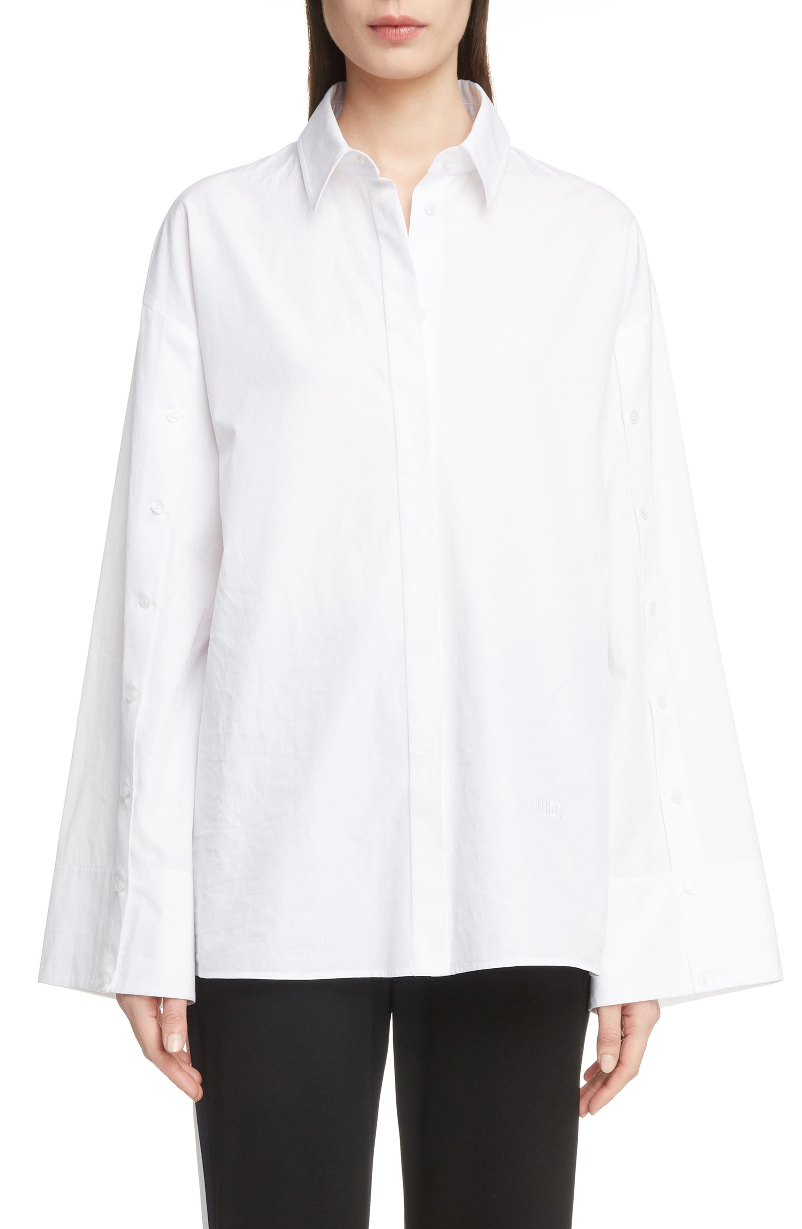 Button Sleeve Top,                         Main,                         color, POPLIN WHITE