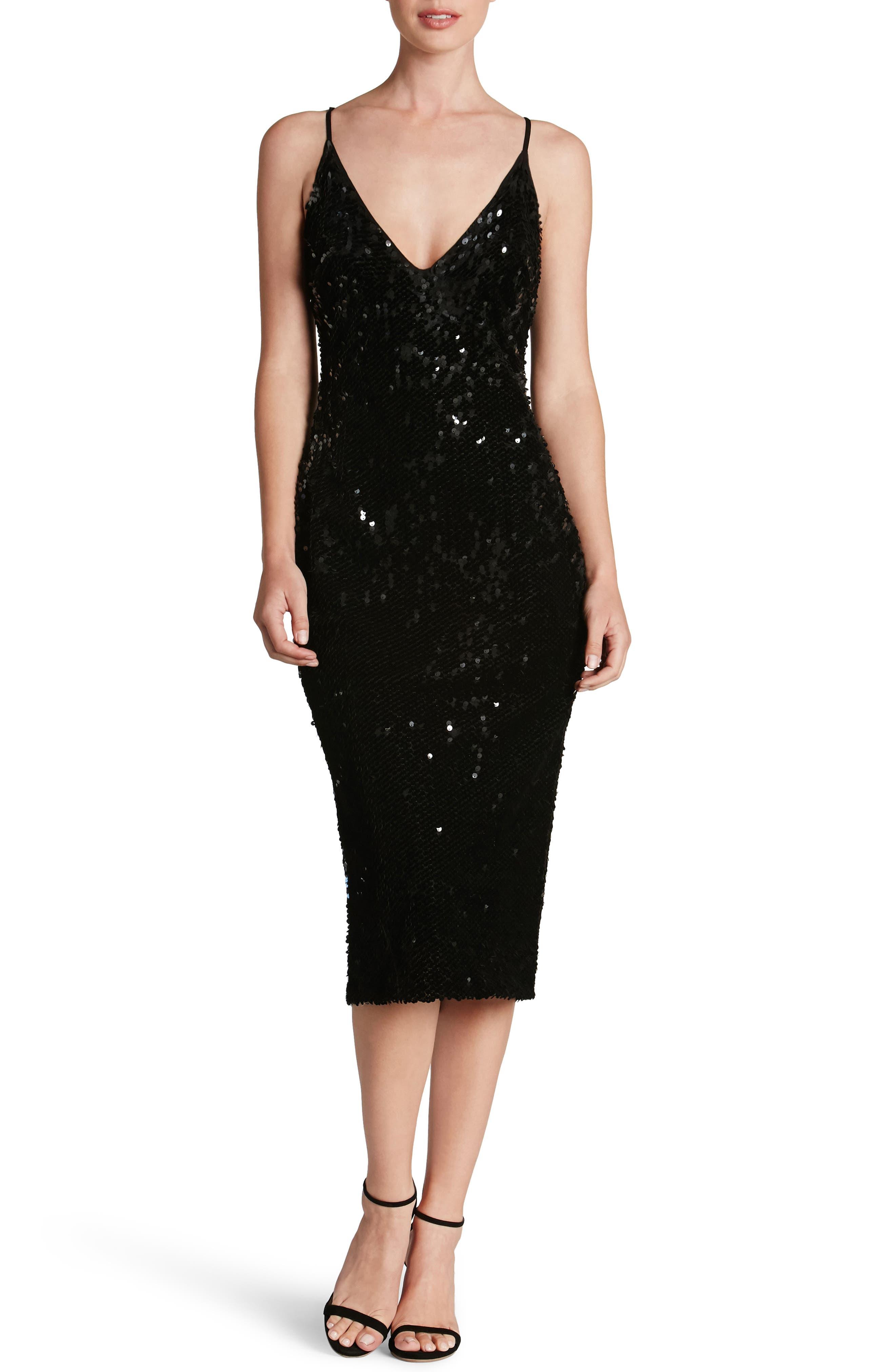 Nina Sequin Velvet Body-Con Dress,                             Main thumbnail 1, color,                             001