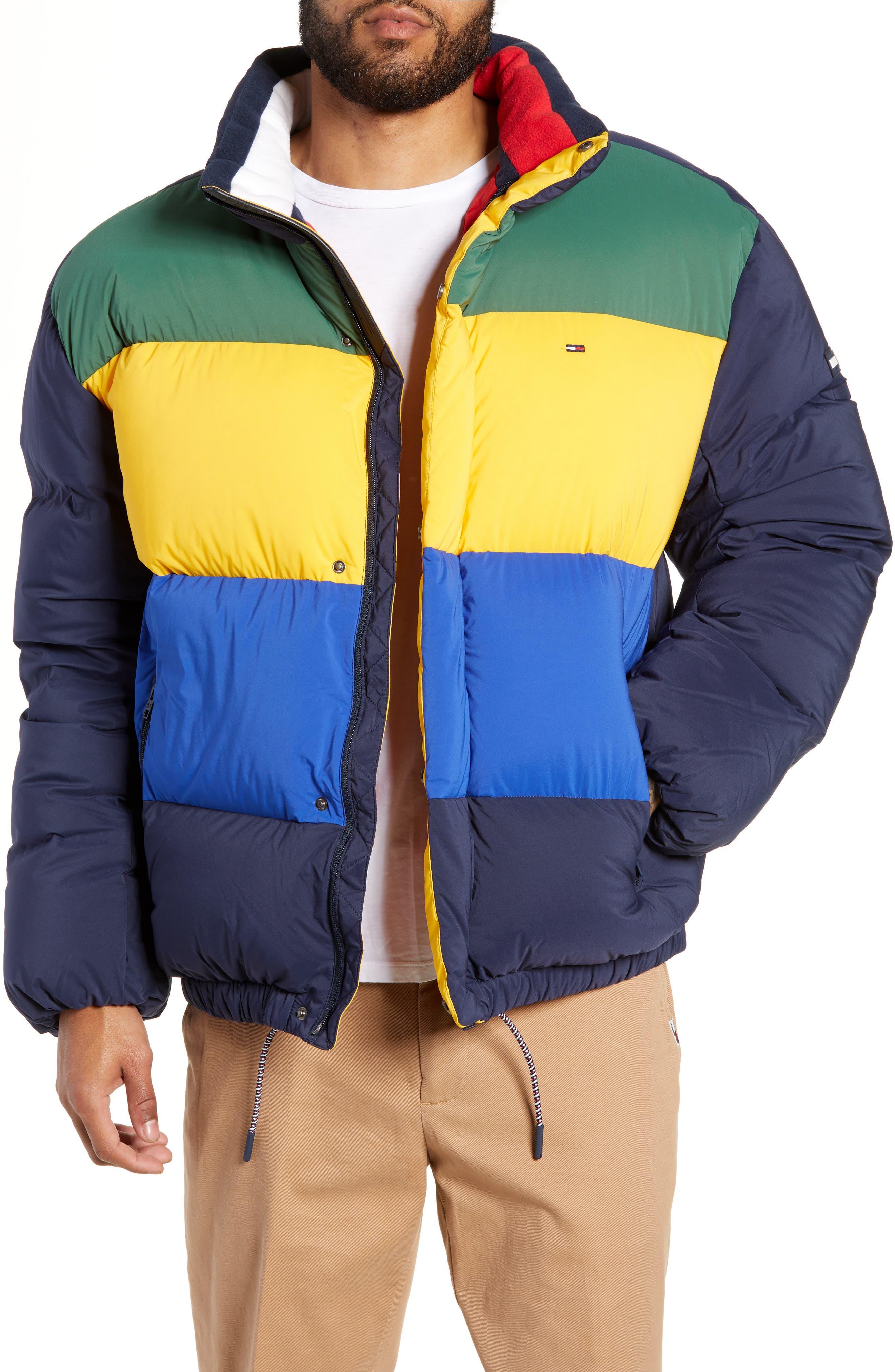 Colorblock Down Jacket,                             Main thumbnail 1, color,                             BLACK IRIS / MULTI