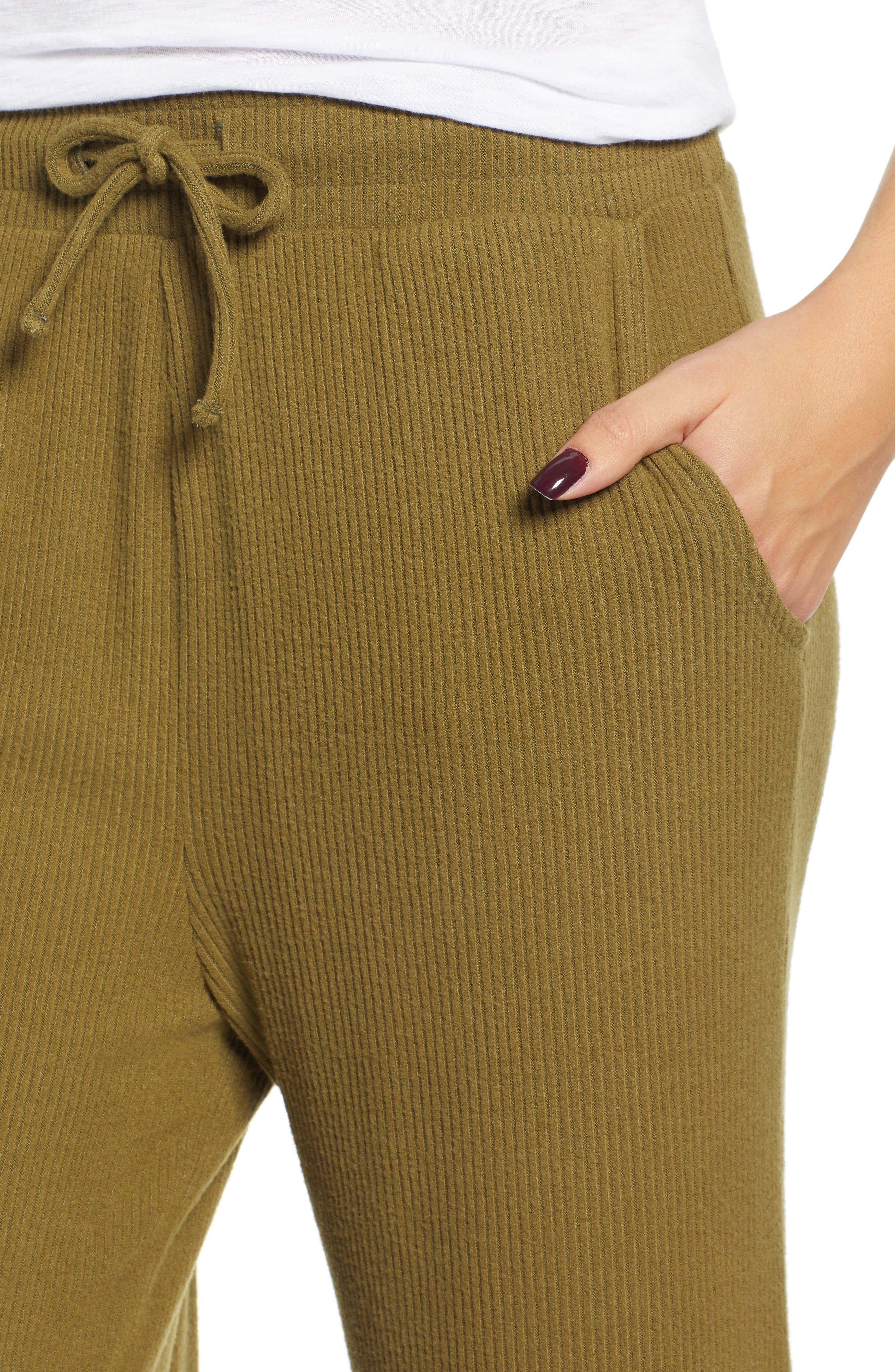 Ribbed Wide Leg Crop Pants,                             Alternate thumbnail 4, color,                             OLIVE ITALY
