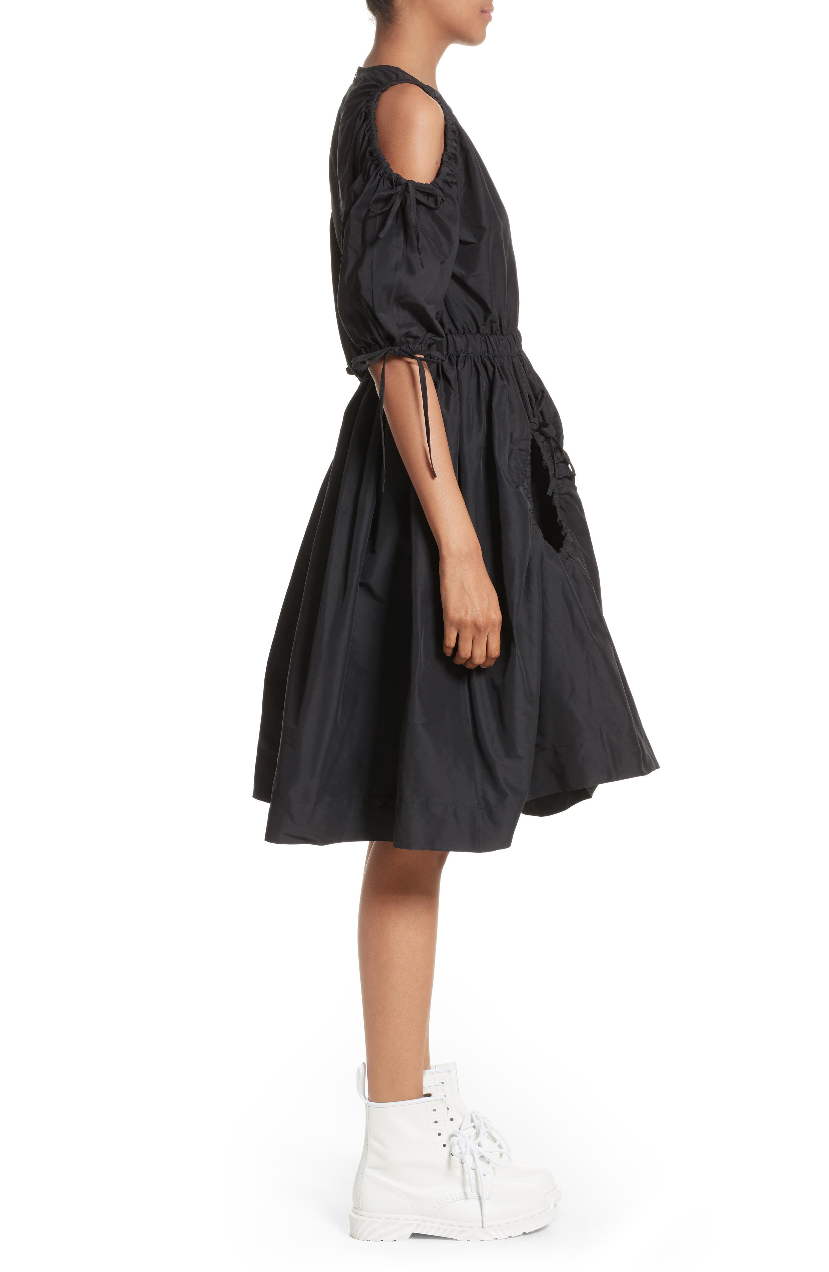 Cold Shoulder Drawstring Dress,                             Alternate thumbnail 3, color,                             001