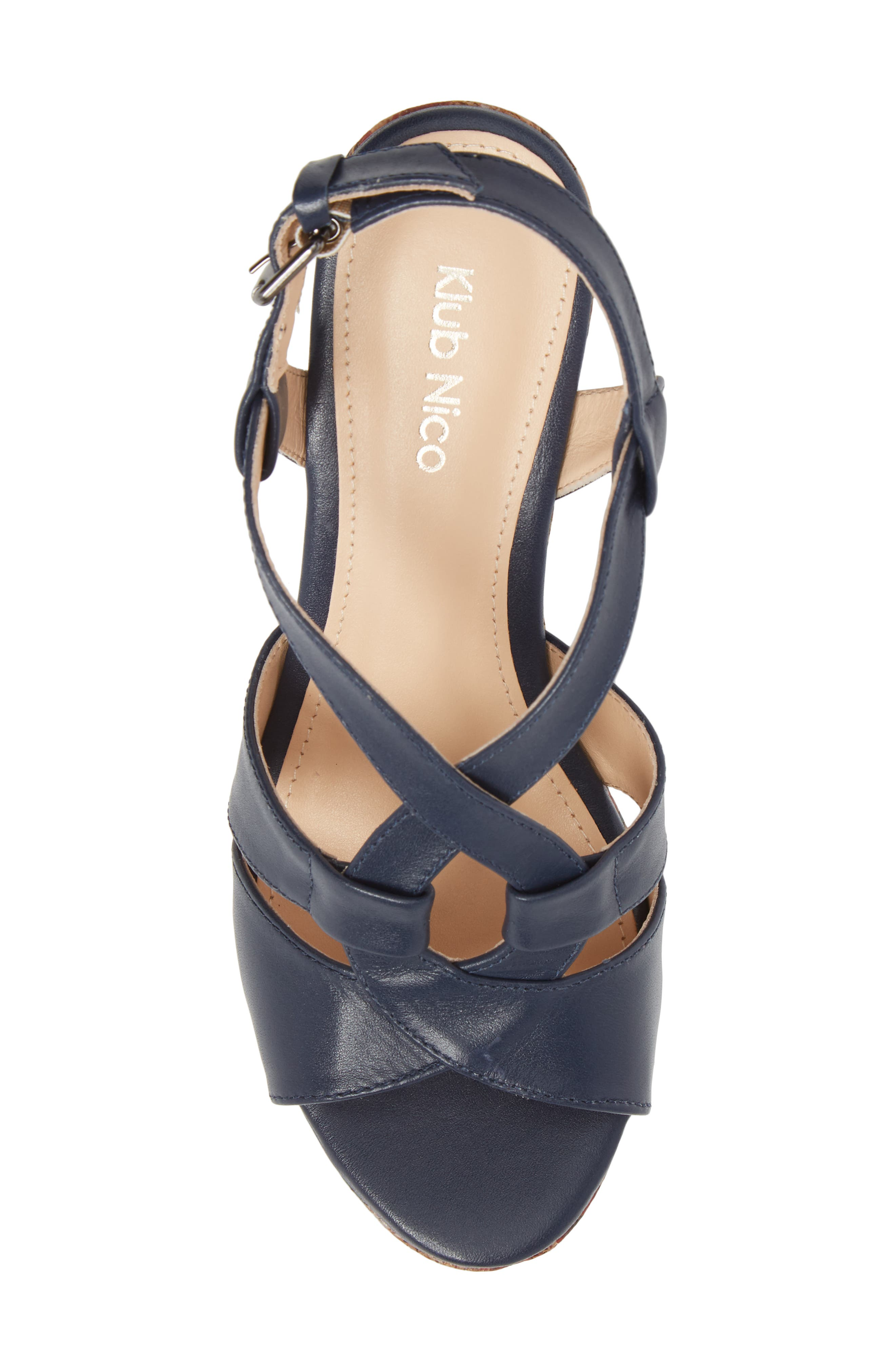 KLUB NICO,                             Victoria Platform Sandal,                             Alternate thumbnail 5, color,                             NAVY LEATHER