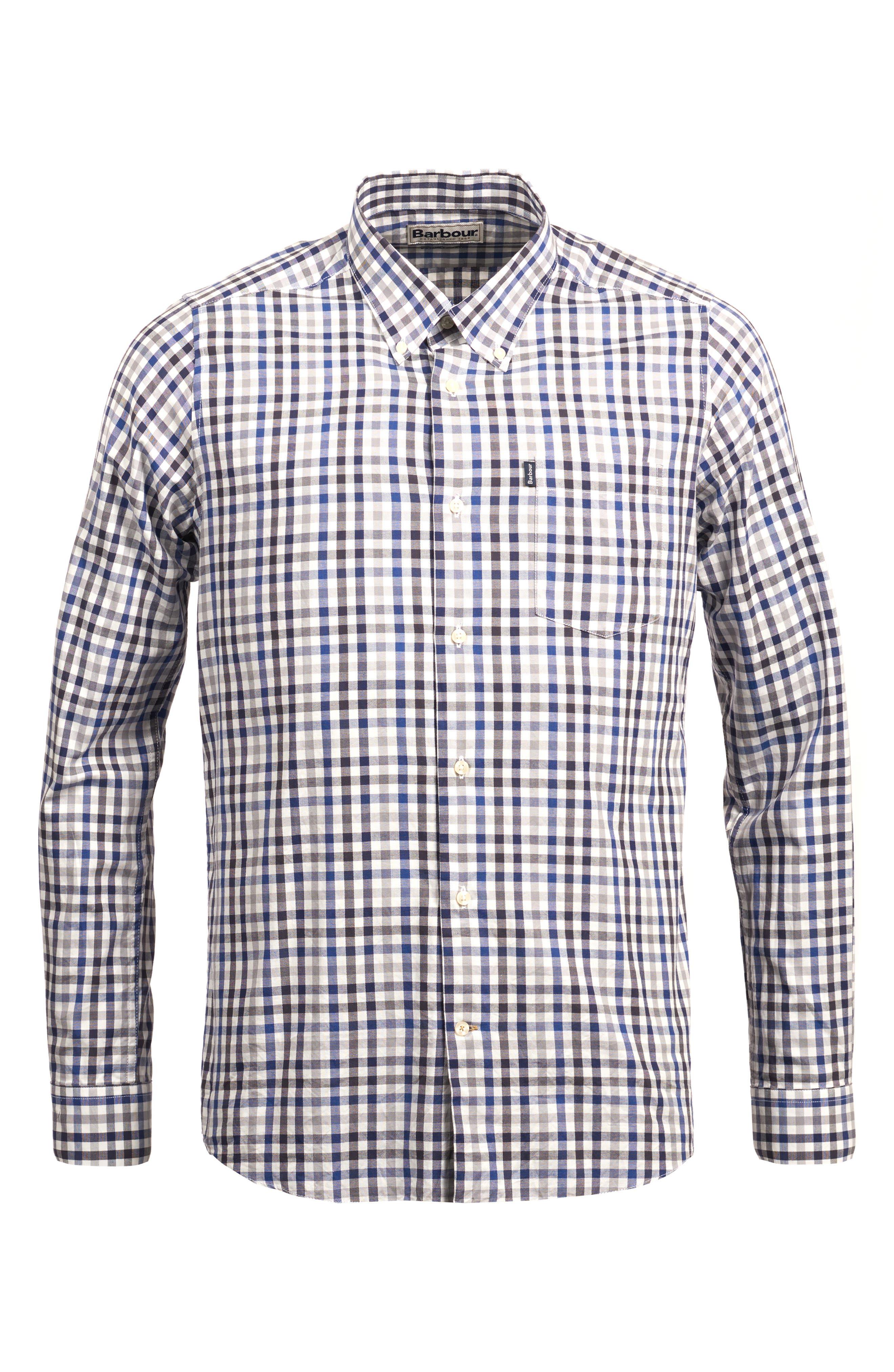 Bibury Tailored Fit Check Sport Shirt,                             Alternate thumbnail 4, color,                             GREY