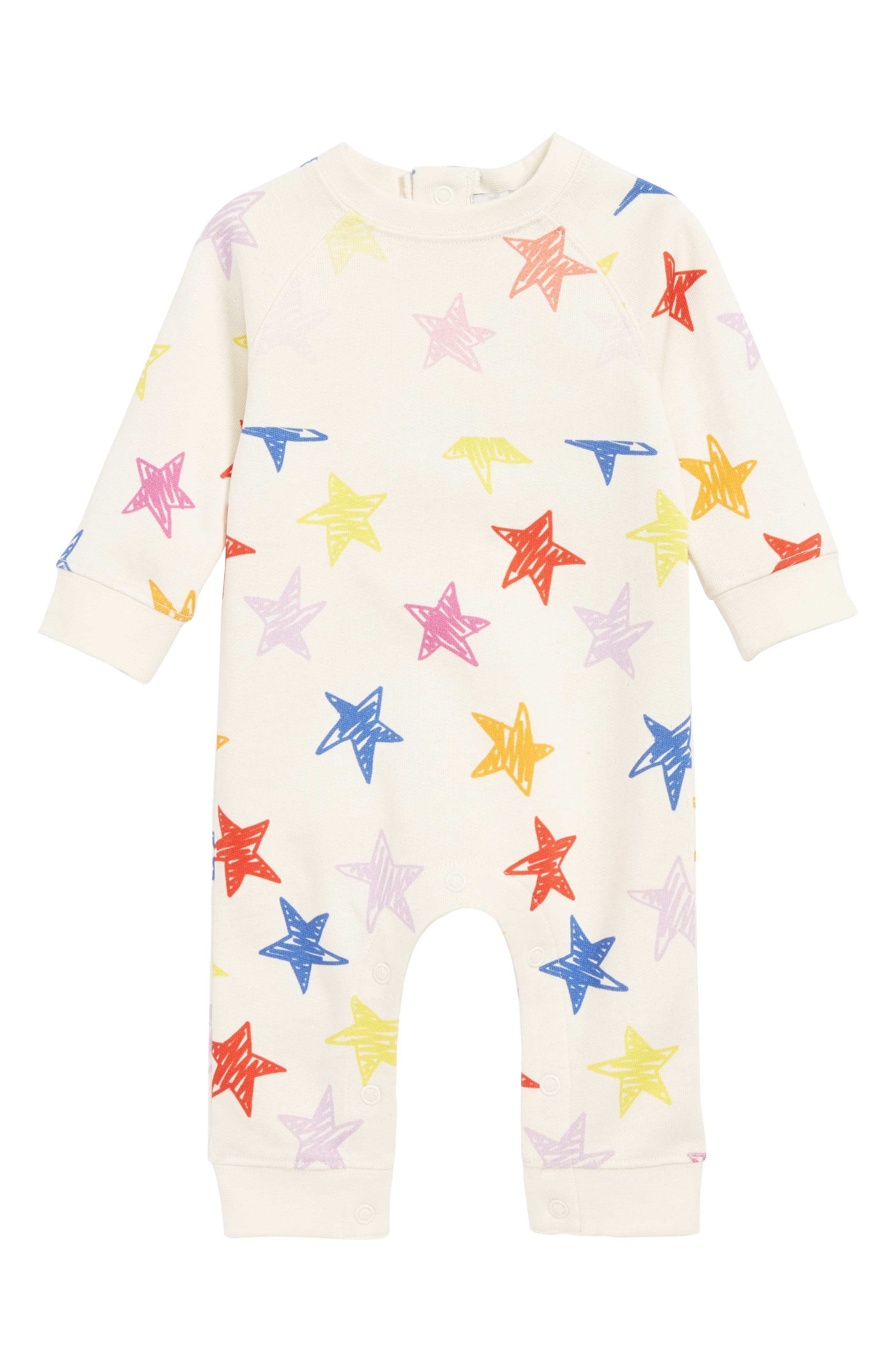 STELLA MCCARTNEY KIDS,                             Stella McCartney Stars Print Cotton Romper,                             Main thumbnail 1, color,                             9088 MULTI