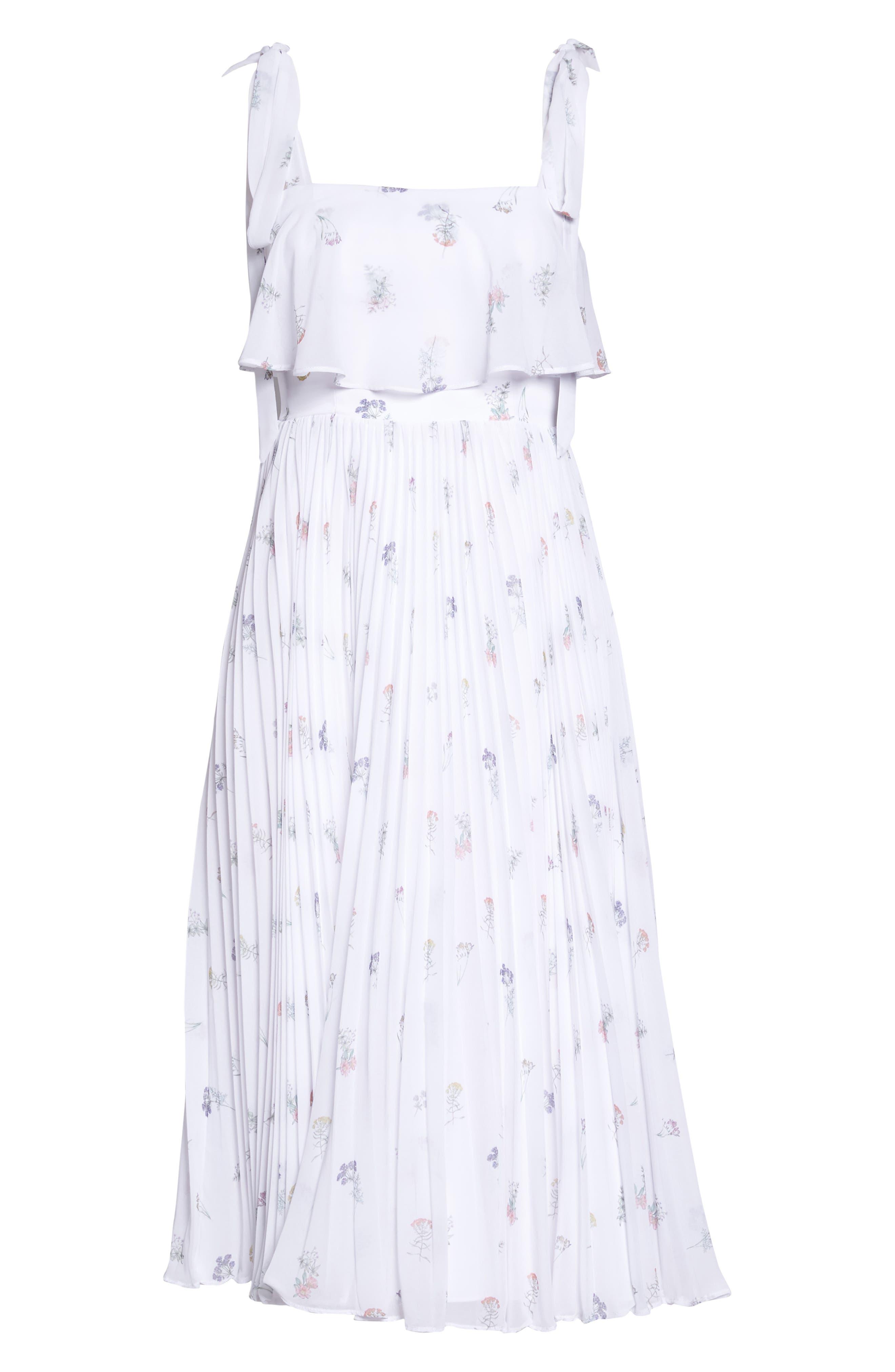 Penny Midi Dress,                             Alternate thumbnail 6, color,                             SPRING POSY WHITE