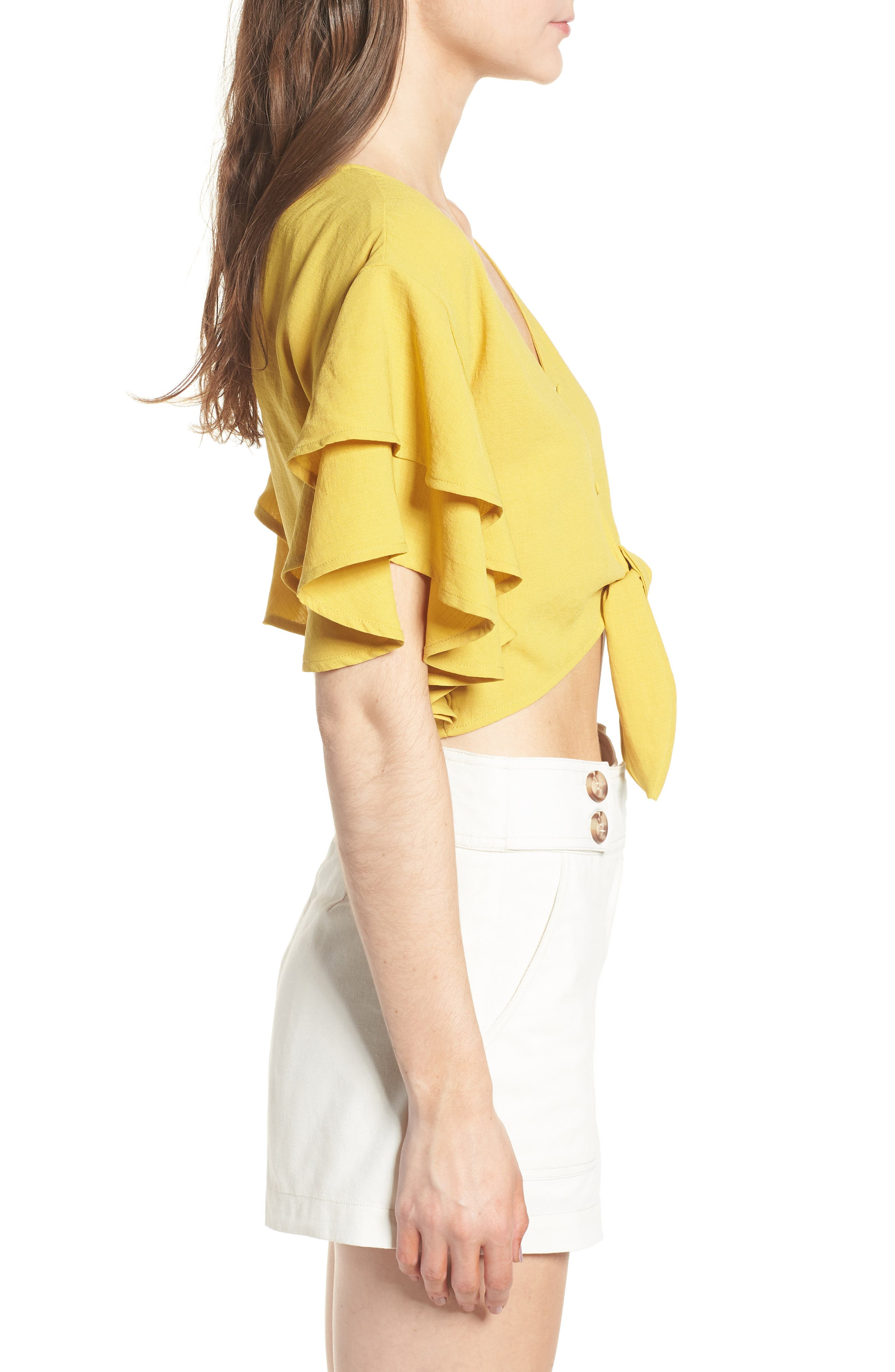 MOON RIVER,                             Ruffle Sleeve Crop Top,                             Alternate thumbnail 3, color,                             753