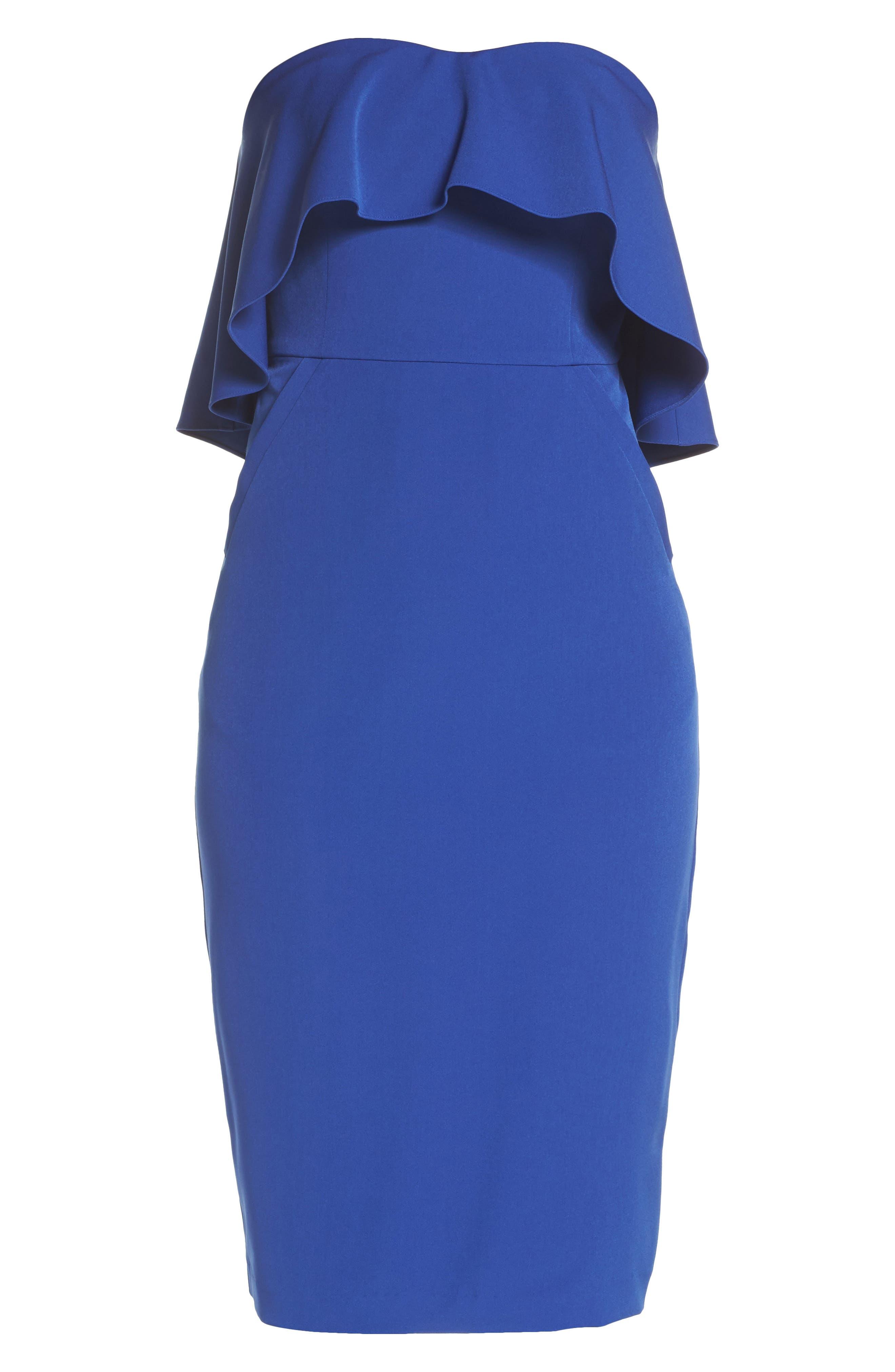 Ruffle Stretch Crepe Sheath Dress,                             Alternate thumbnail 33, color,