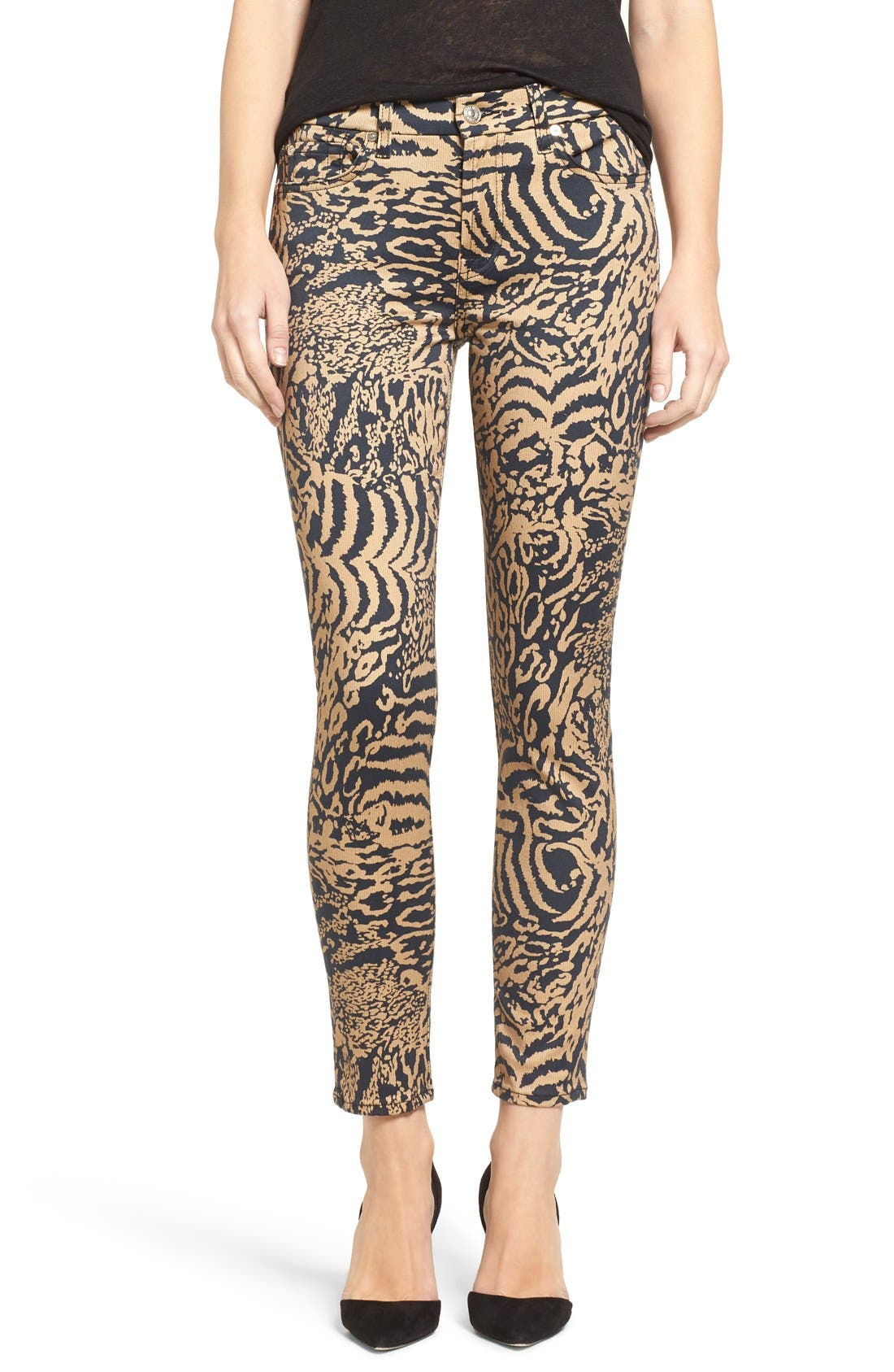 Leopard Print Ankle Skinny Jeans,                             Alternate thumbnail 6, color,                             004