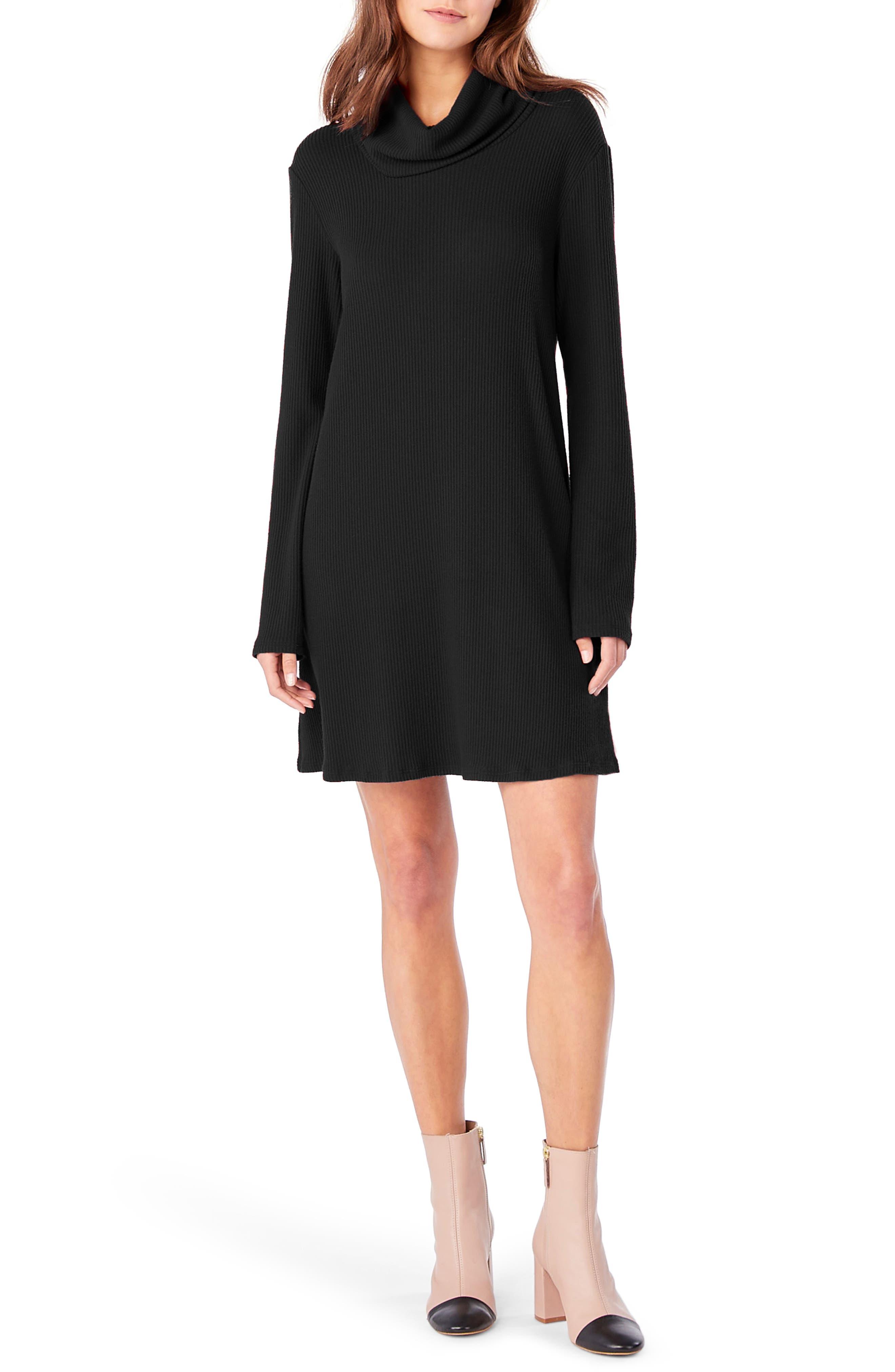 Cowl Neck Knit Dress,                             Main thumbnail 1, color,                             001