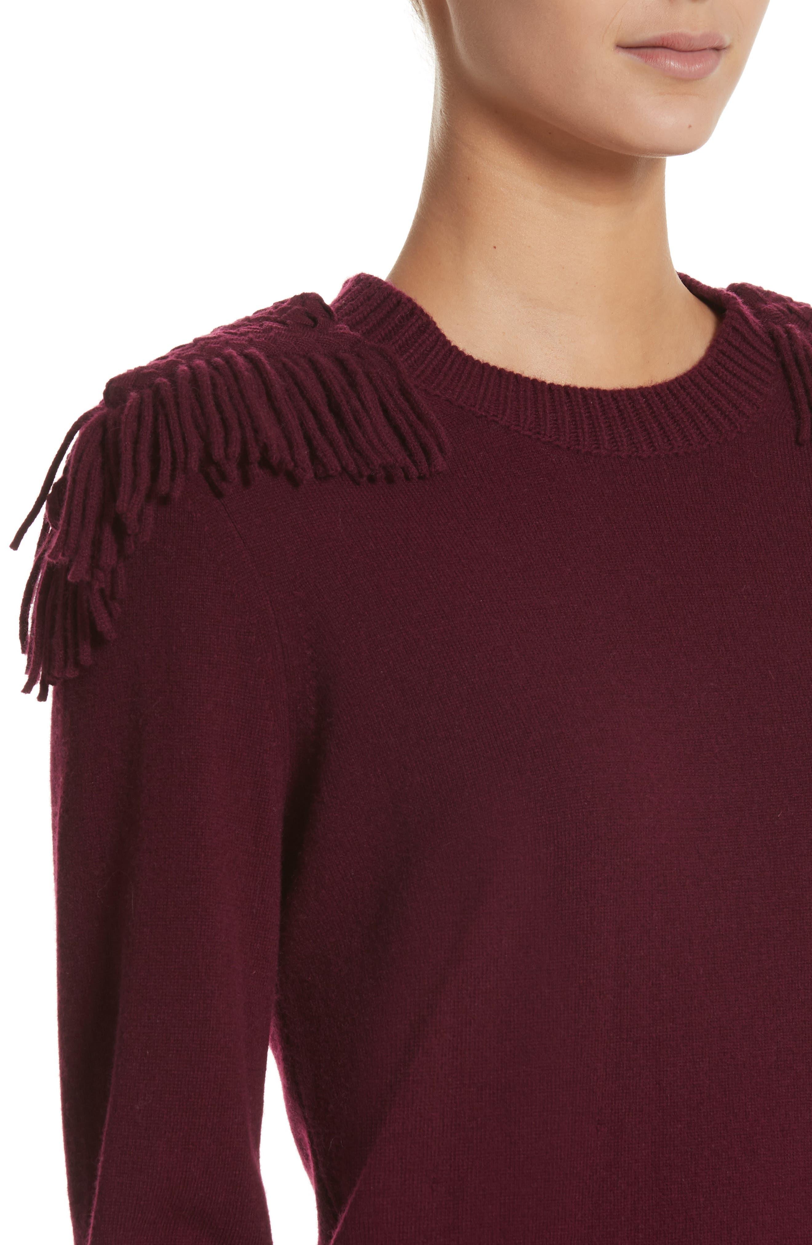 Neto Wool & Cashmere Fringe Sweater Dress,                             Alternate thumbnail 4, color,                             601