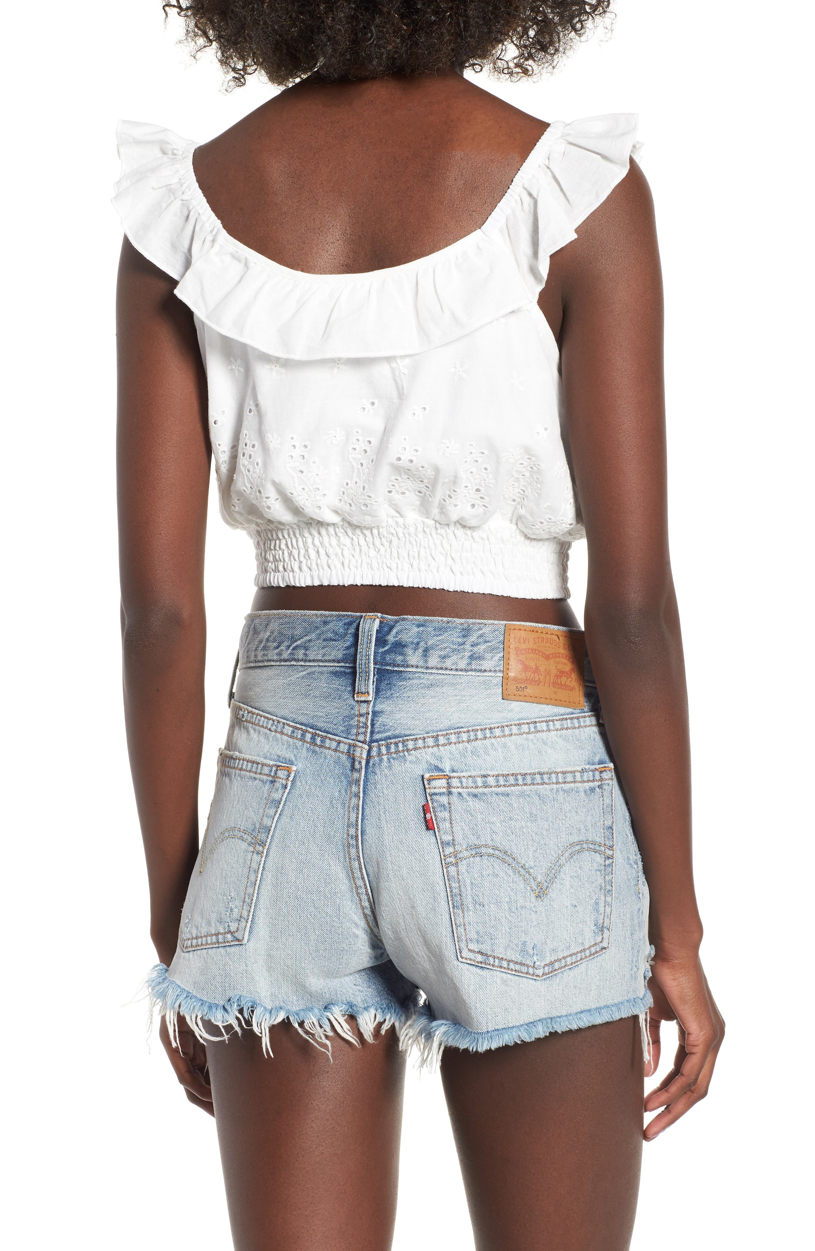 Bianco Eyelet Crop Top,                             Alternate thumbnail 2, color,