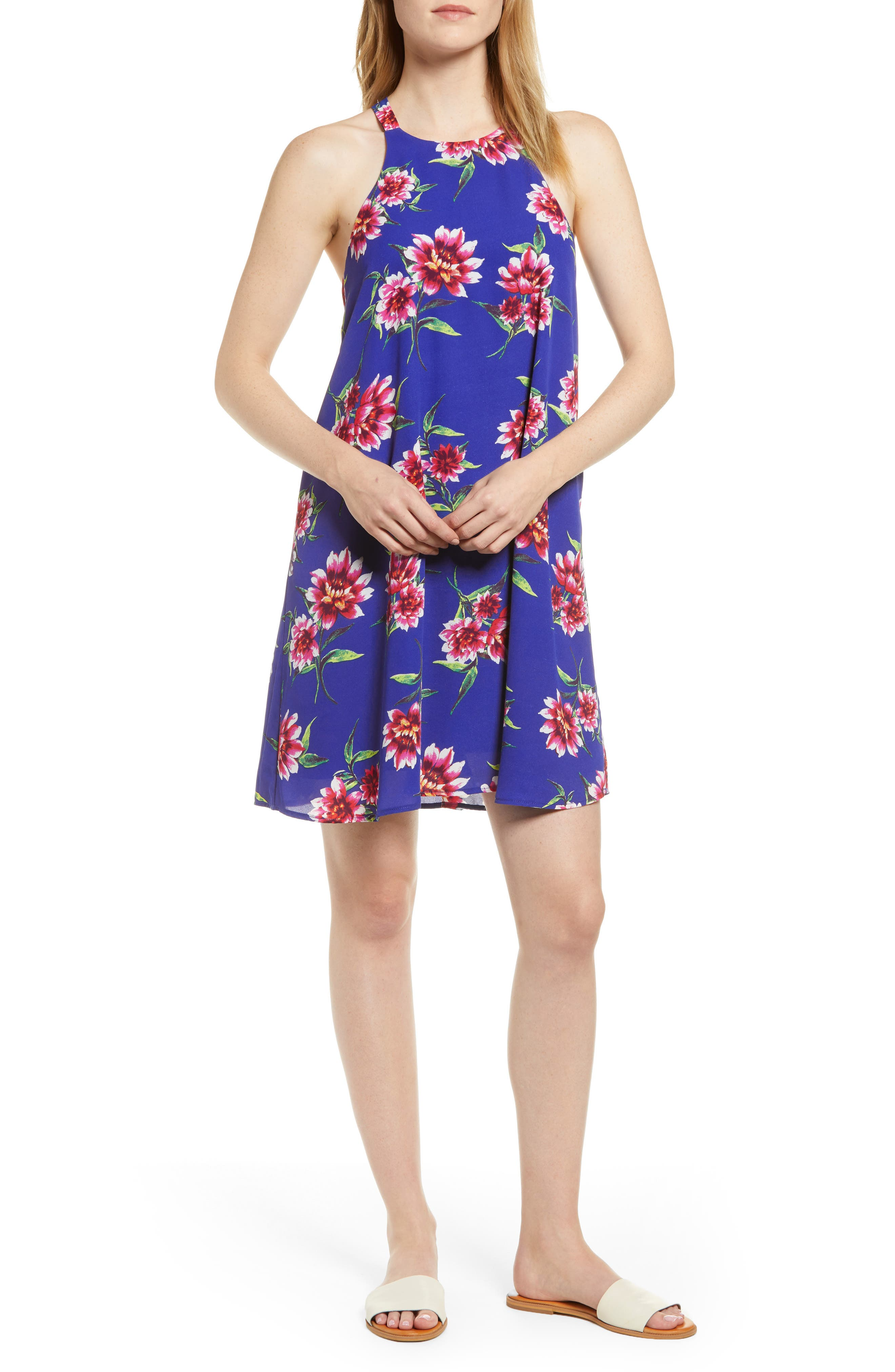 women's gibson x hi sugarplum! naples swing halter dress, size x-small - blue