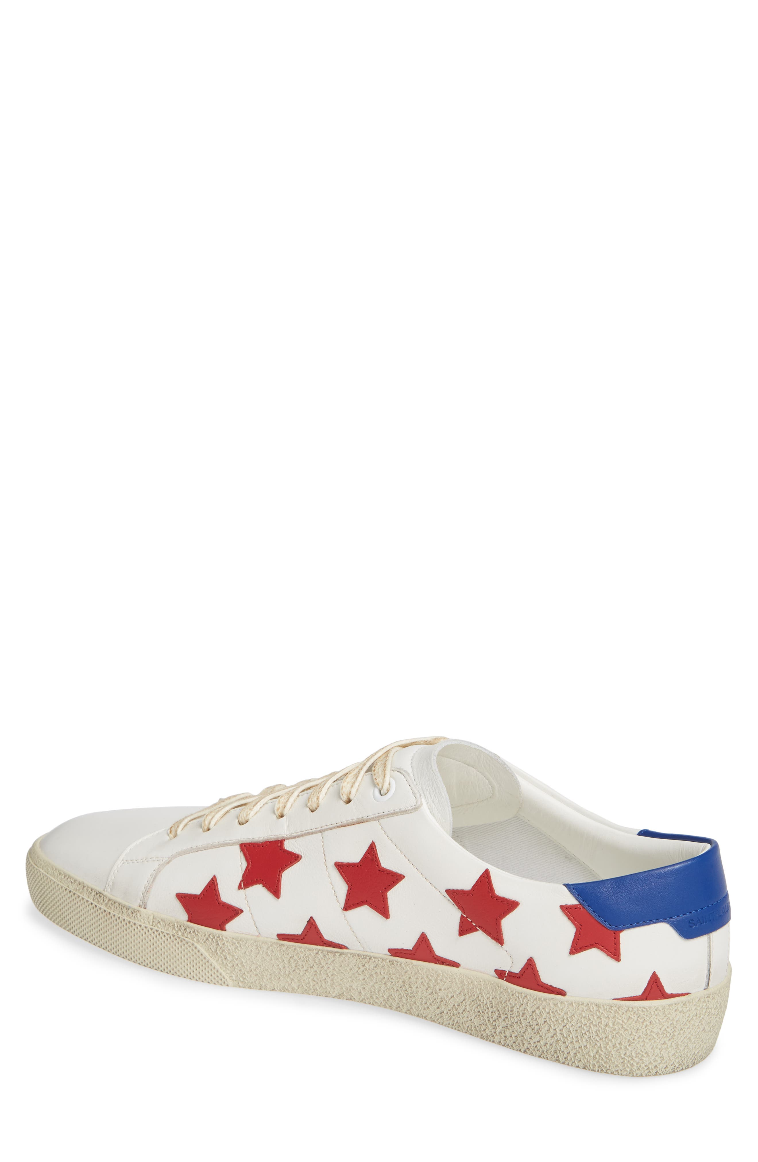 SAINT LAURENT,                             Star Low-Top Sneaker,                             Alternate thumbnail 2, color,                             WHITE/ MULTI