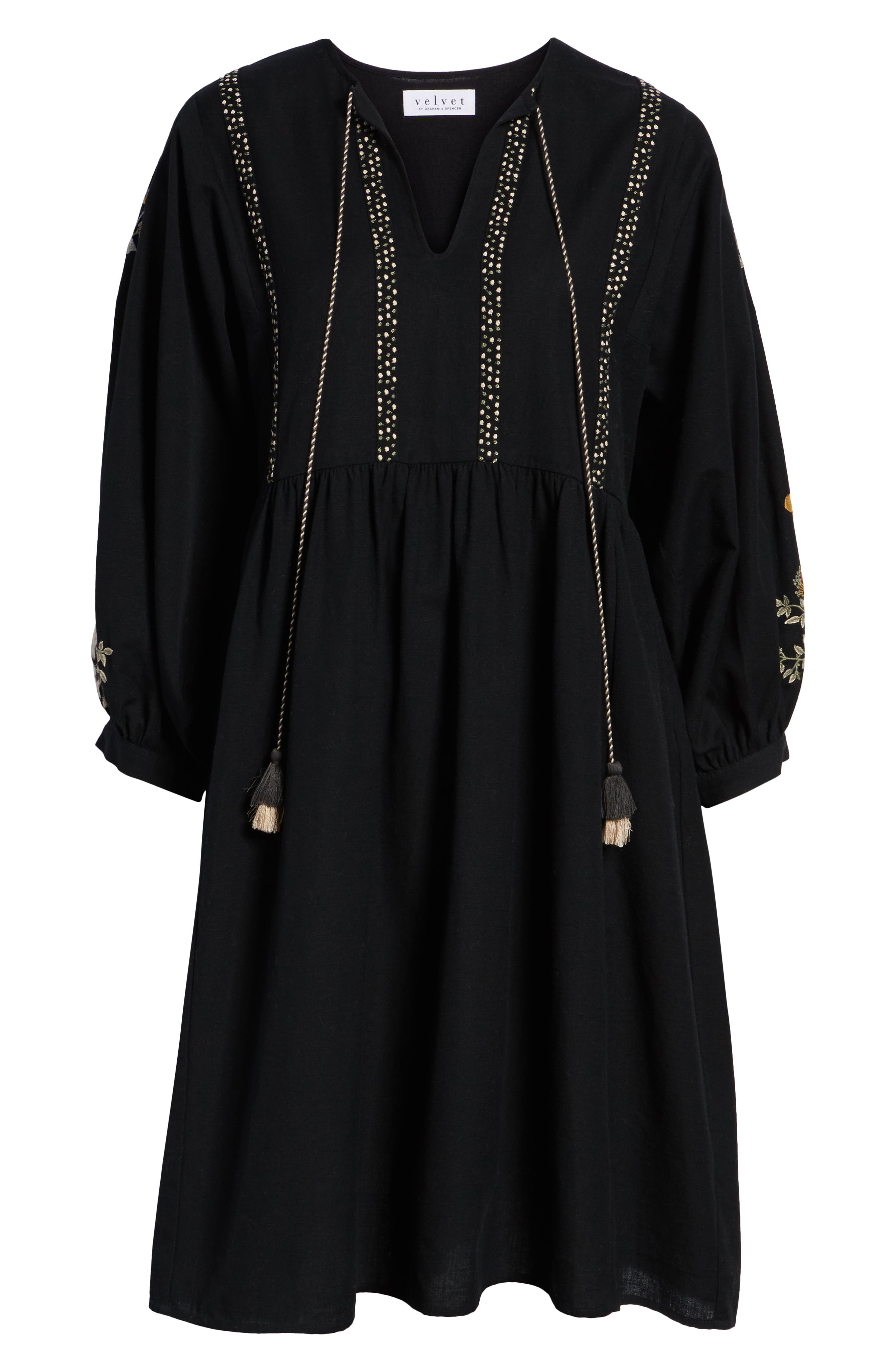 Embroidered Peasant Dress,                             Alternate thumbnail 7, color,                             BLACK