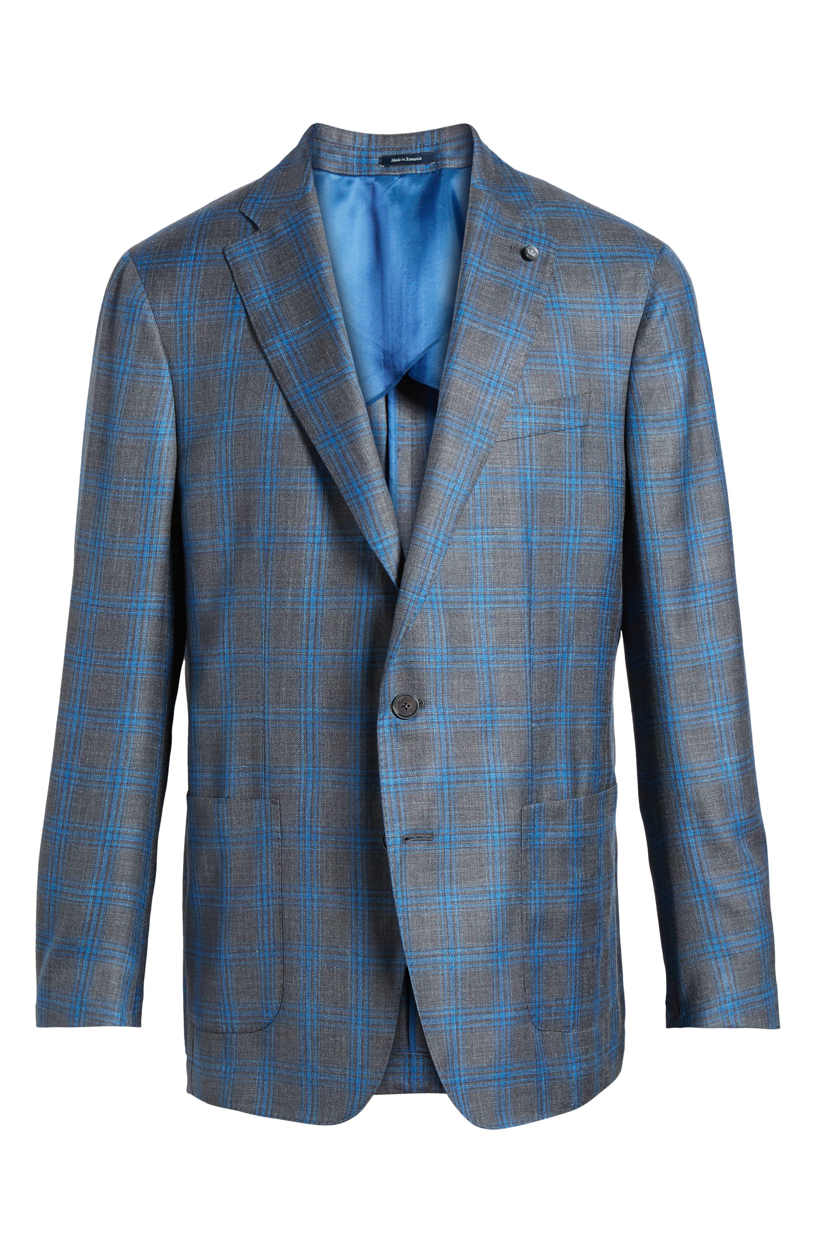 PETER MILLAR COLLECTION,                             Marina Windowpane Wool & Silk Blend Sport Coat,                             Alternate thumbnail 5, color,                             400