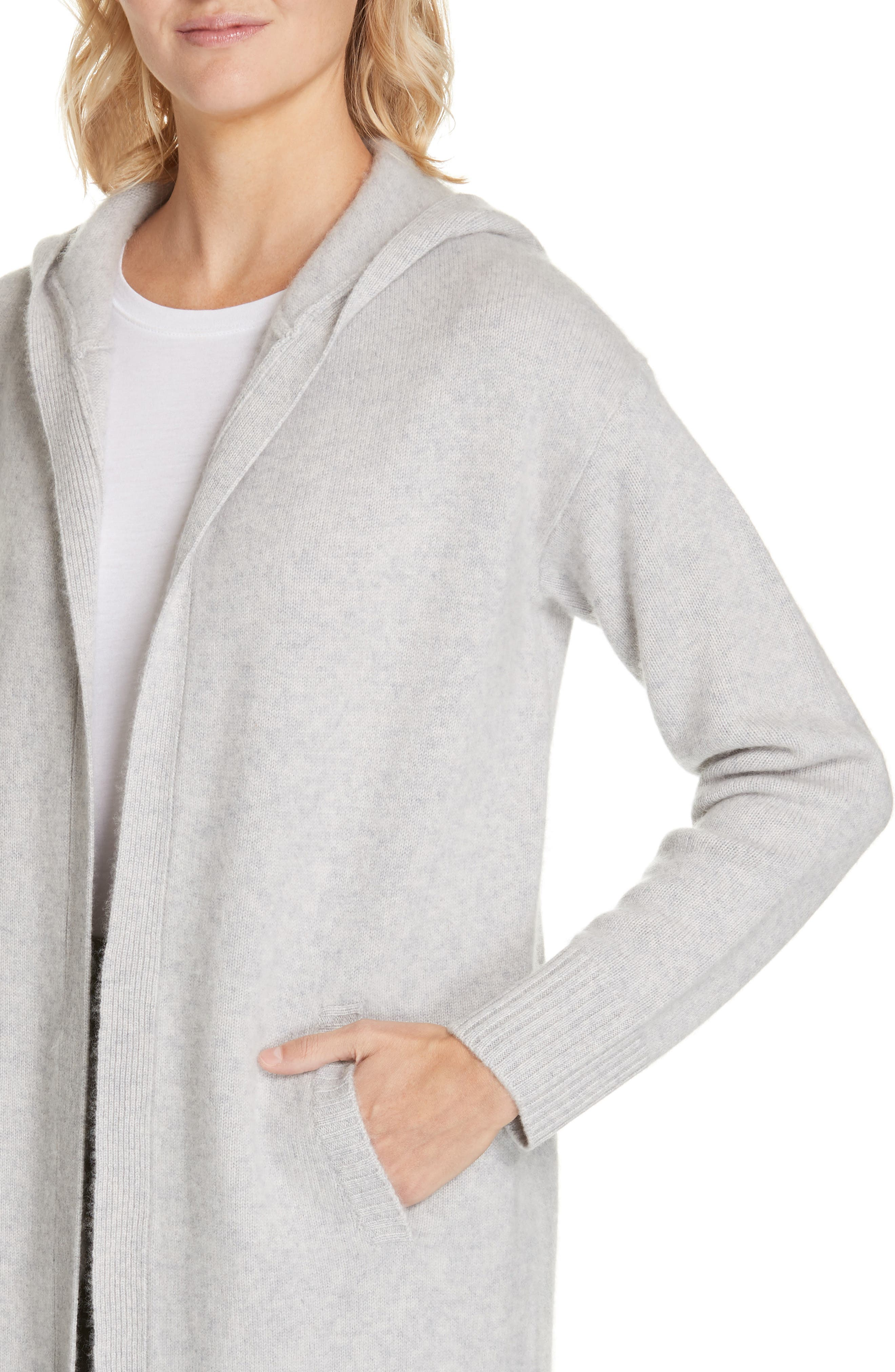 NORDSTROM SIGNATURE,                             Hooded Boiled Cashmere Cardigan,                             Alternate thumbnail 4, color,                             GREY CLAY HEATHER