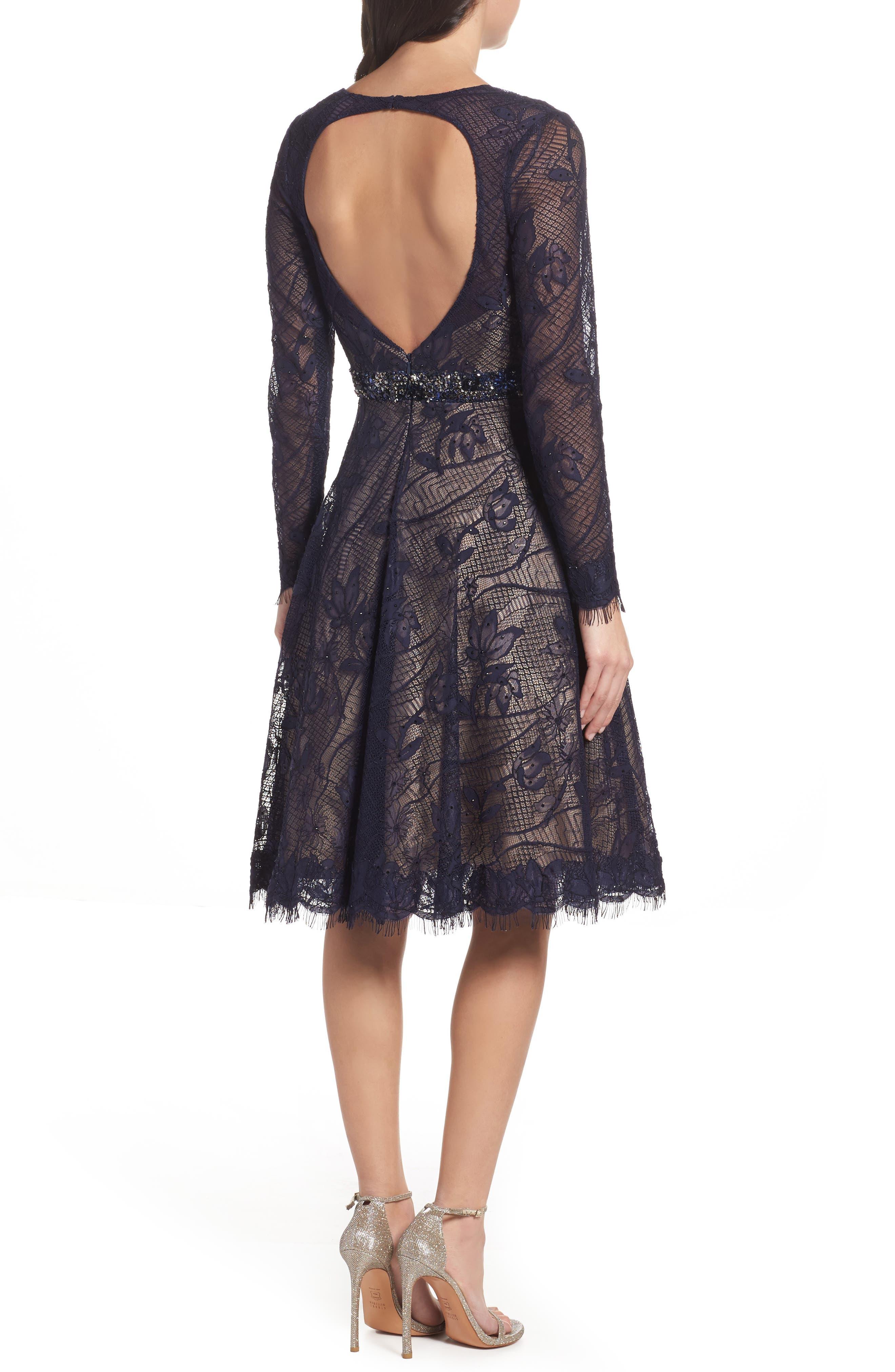 Open Back Lace A-Line Dress,                             Alternate thumbnail 2, color,                             405