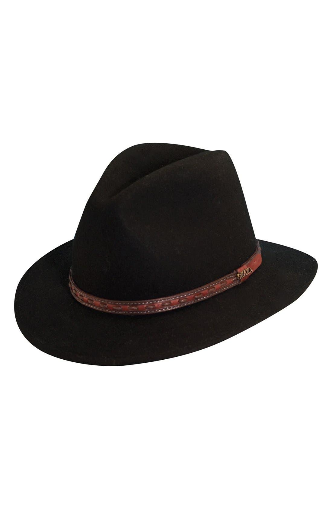 'Classico' Crushable Felt Safari Hat,                             Main thumbnail 1, color,                             BLACK