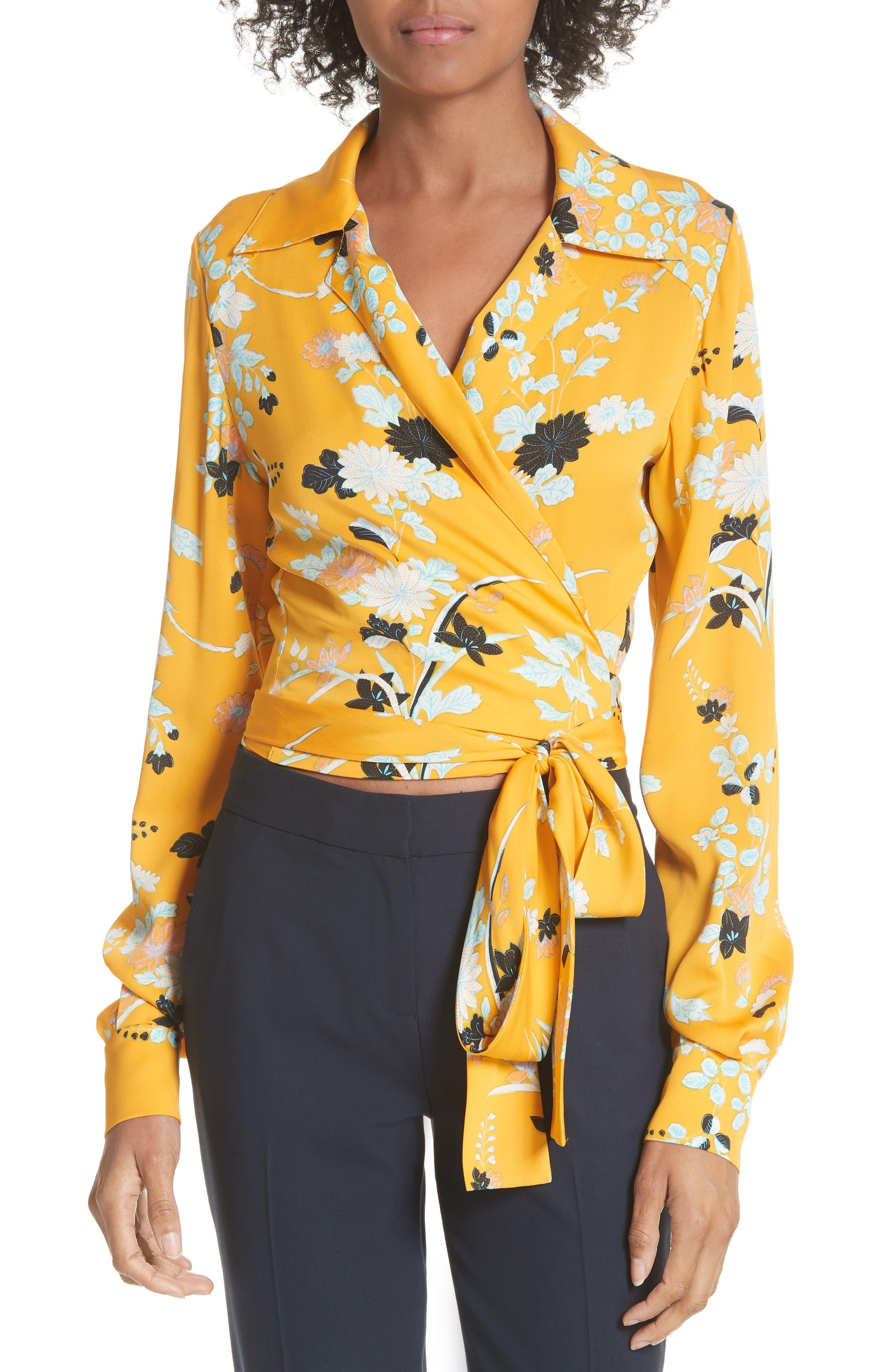 Floral Silk Wrap Blouse,                         Main,                         color,