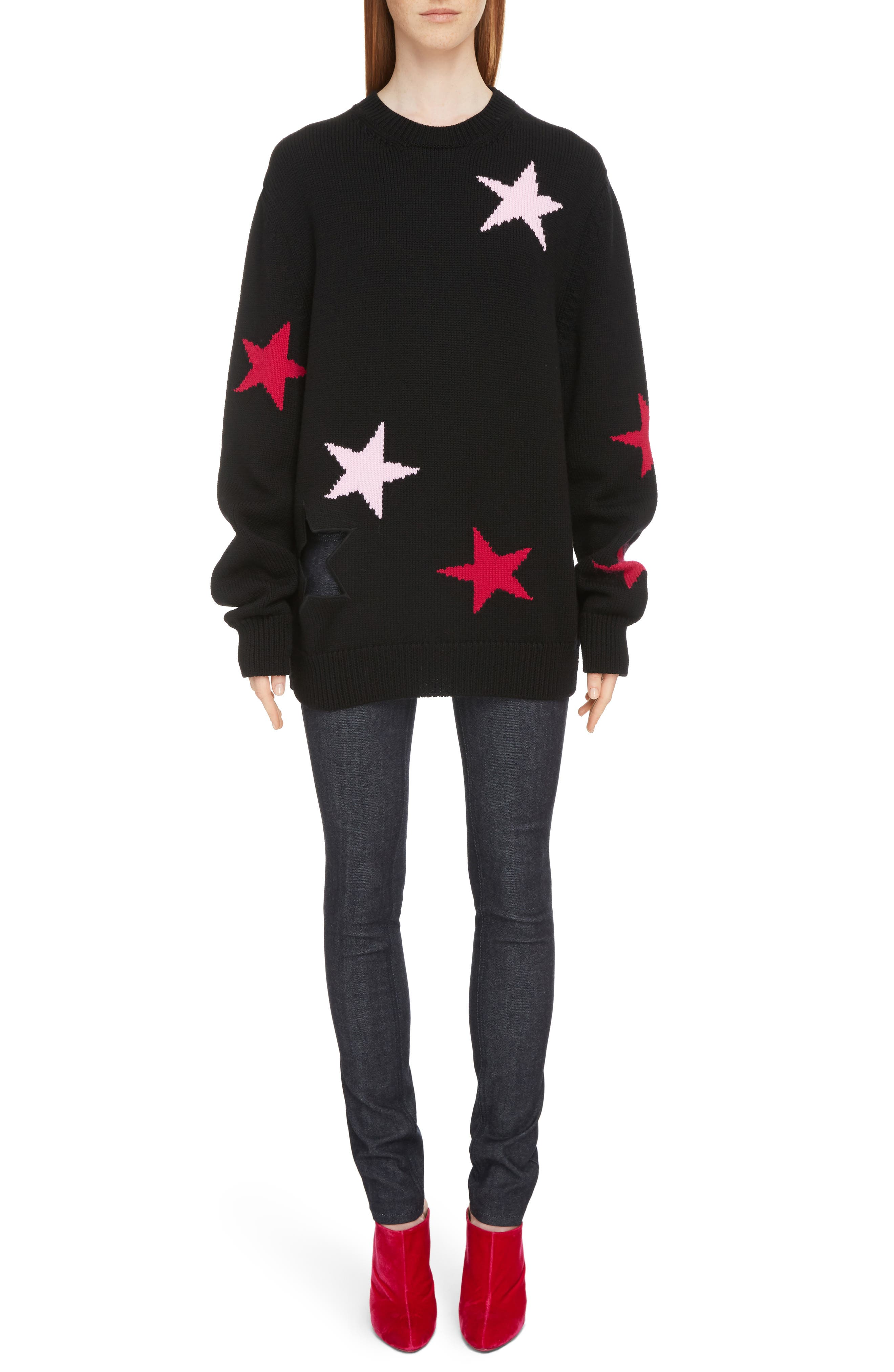Star Cutout Wool Sweater,                             Alternate thumbnail 6, color,                             001