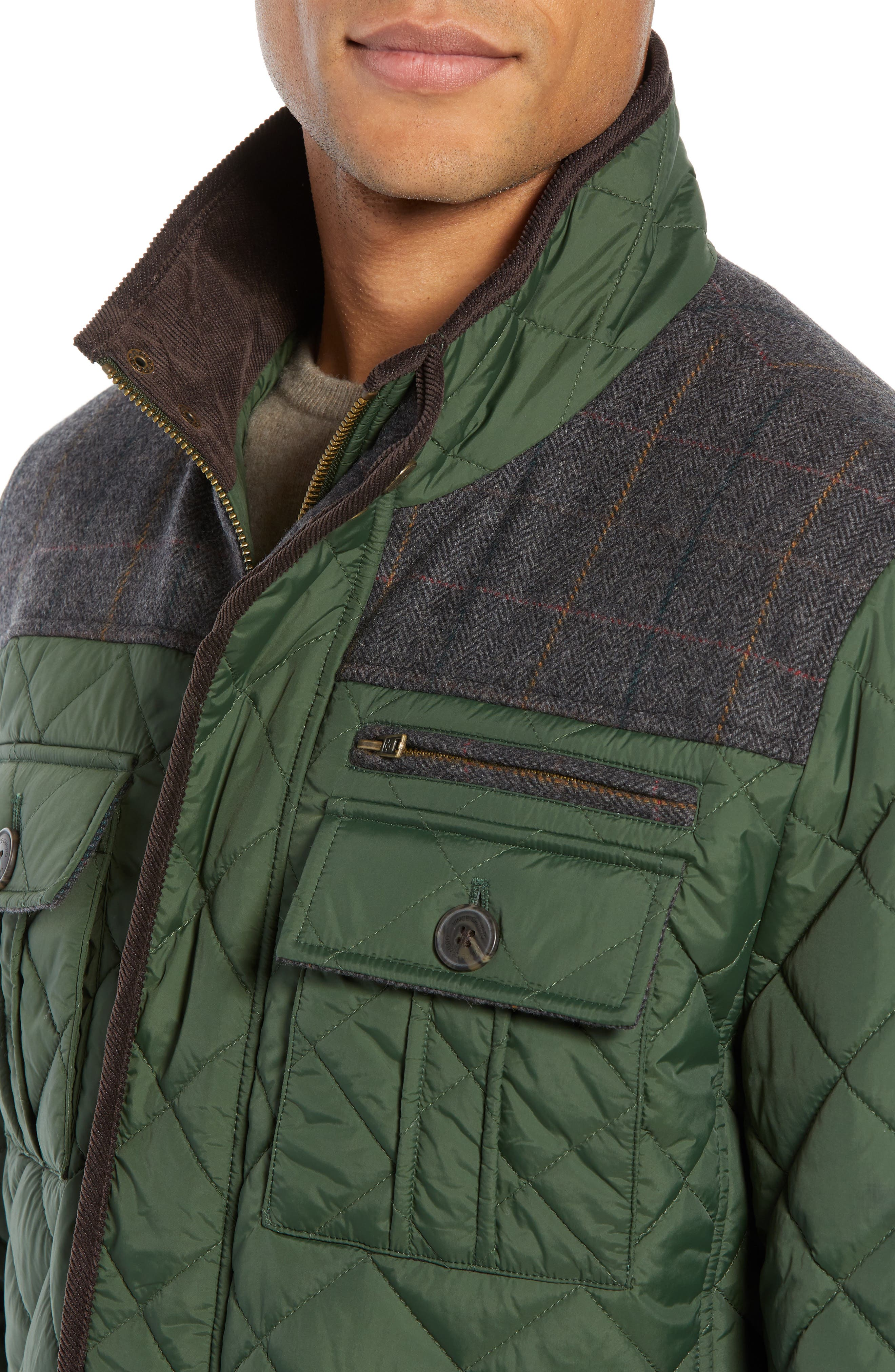 Diamond Quilted Full Zip Jacket,                             Alternate thumbnail 4, color,                             OLIVE