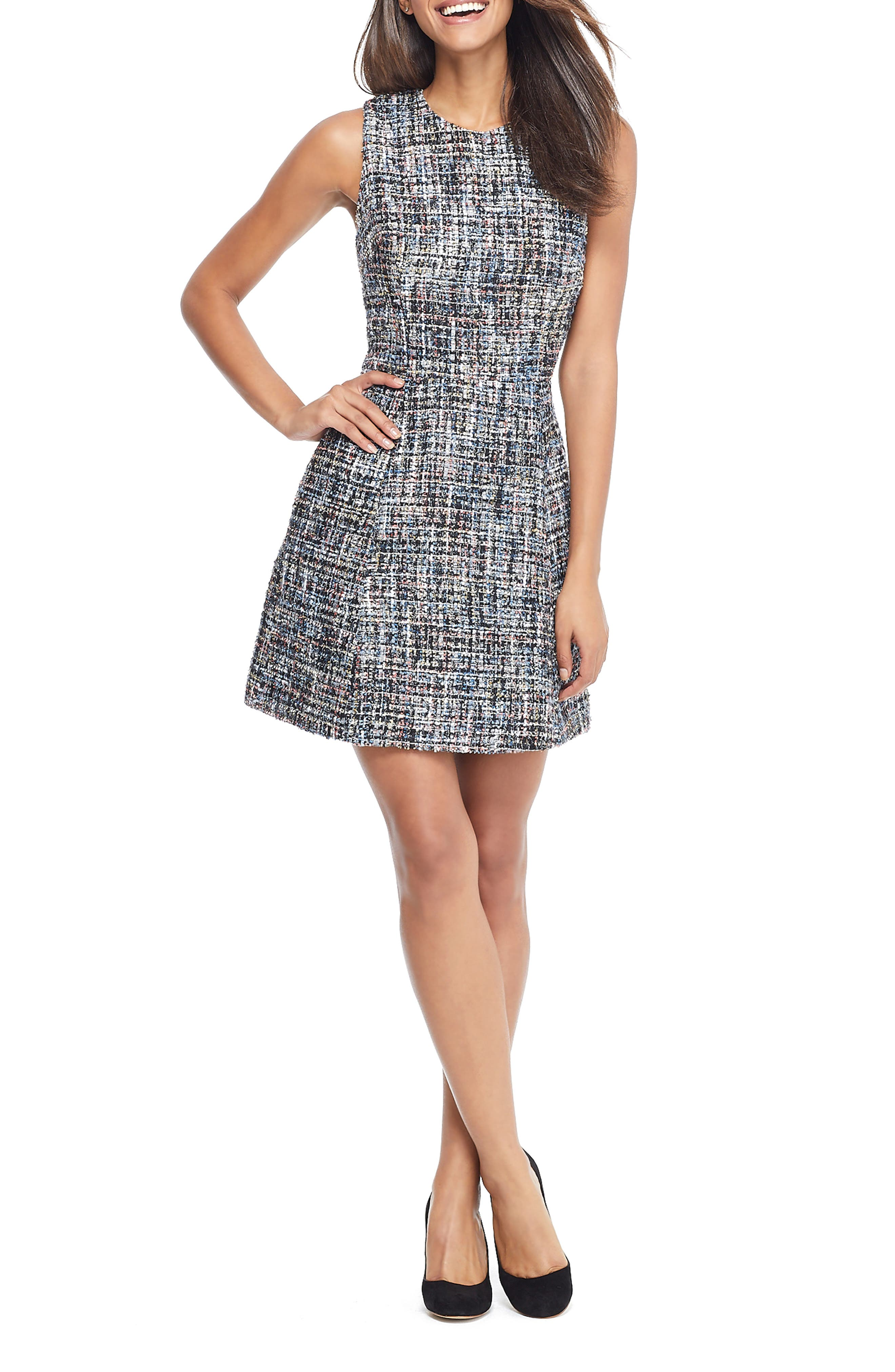 Gal Meets Glam Collection Katherine Fantasy Boucle Fit & Flare Dress, Blue