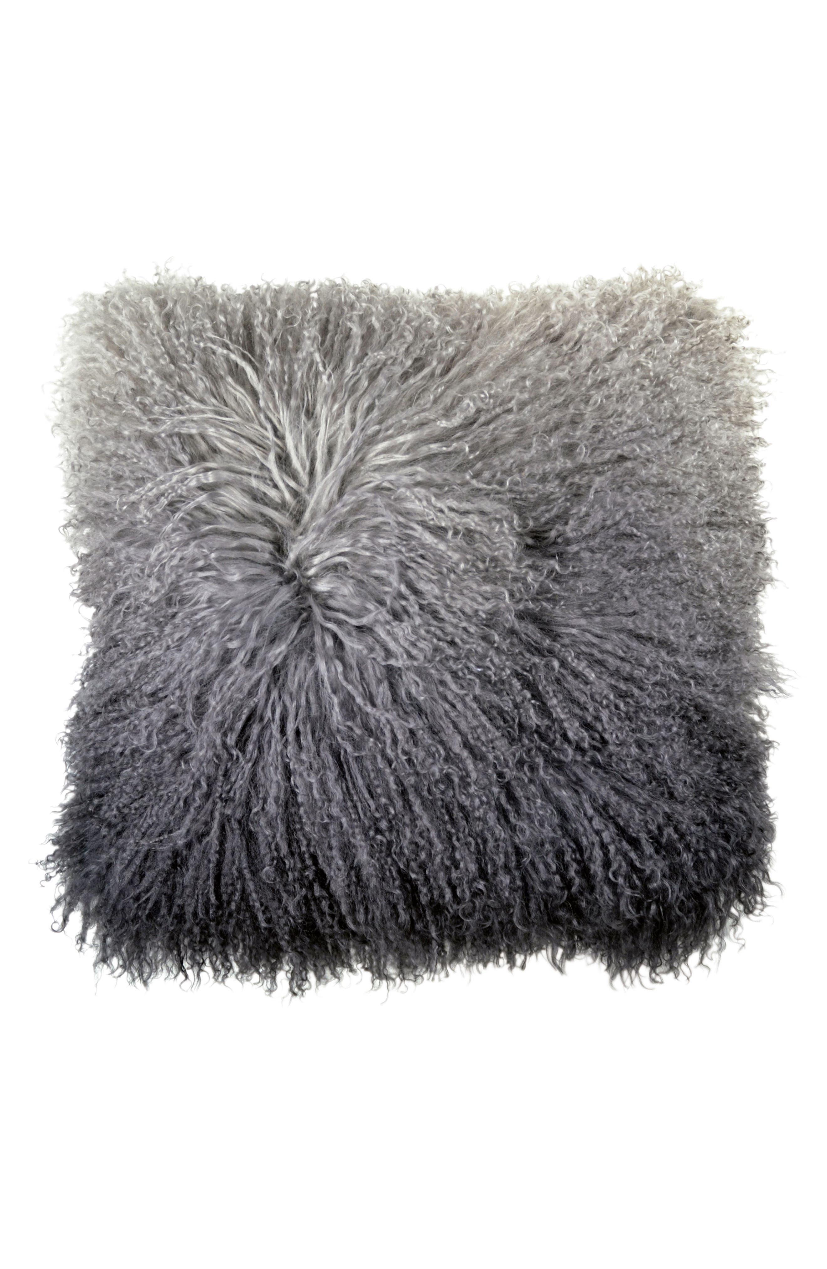 Dip Dye Sheepskin Accent Pillow,                         Main,                         color, CHARCOAL