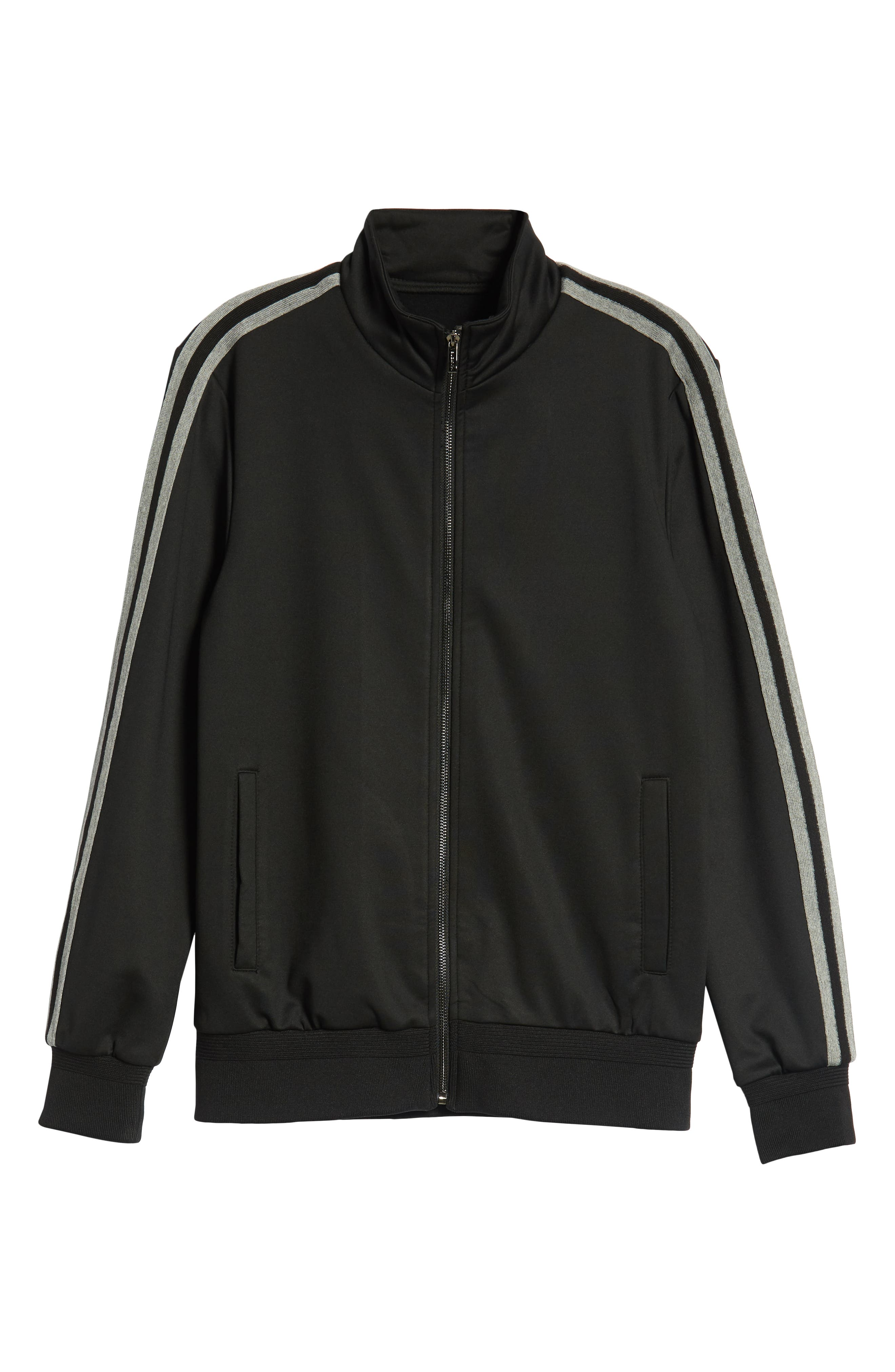 Knit Zip Jacket,                             Alternate thumbnail 5, color,                             BLACK