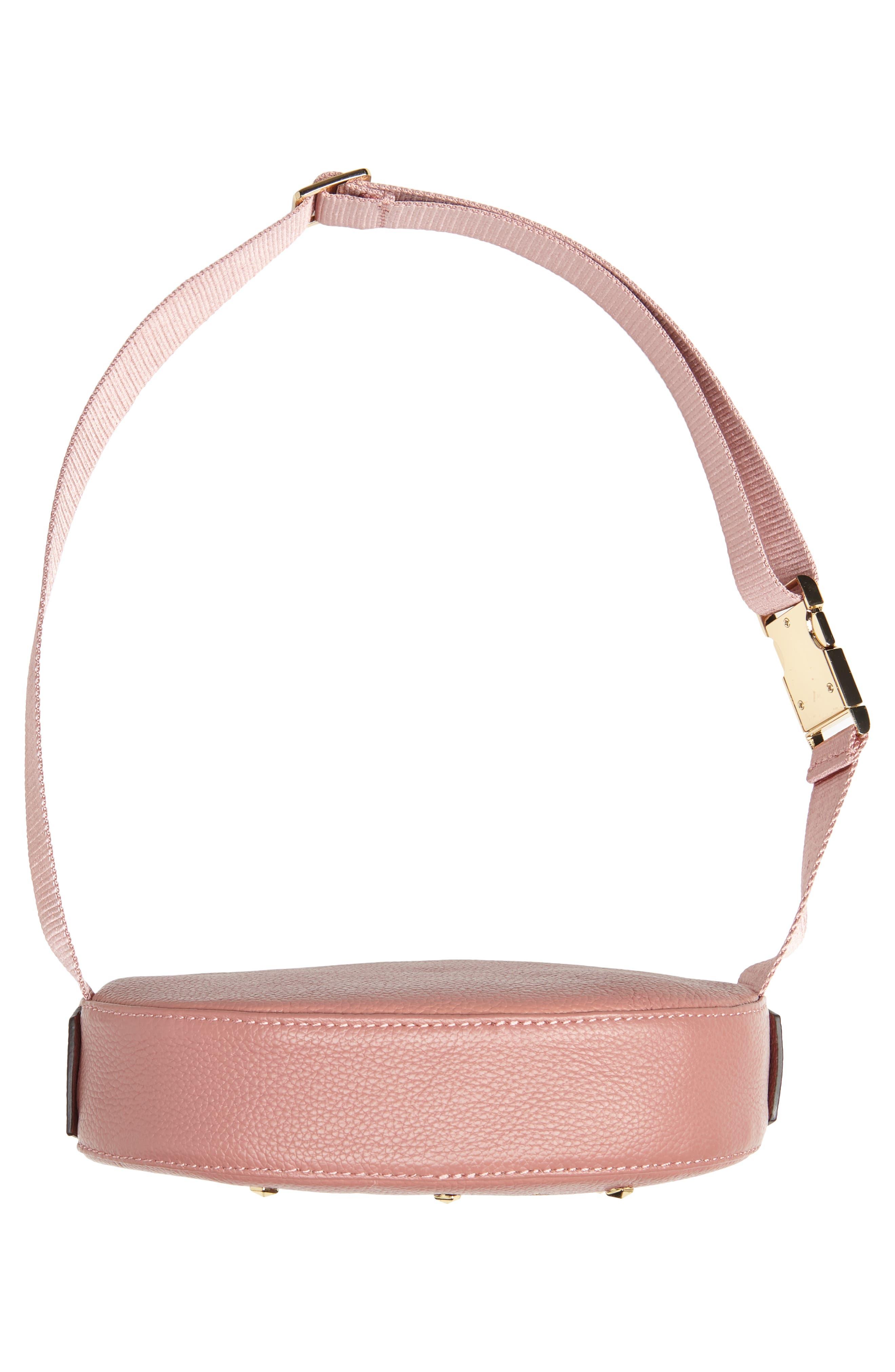 Studded Logo Leather Belt Bag,                             Alternate thumbnail 7, color,                             ROSE/ ROSE