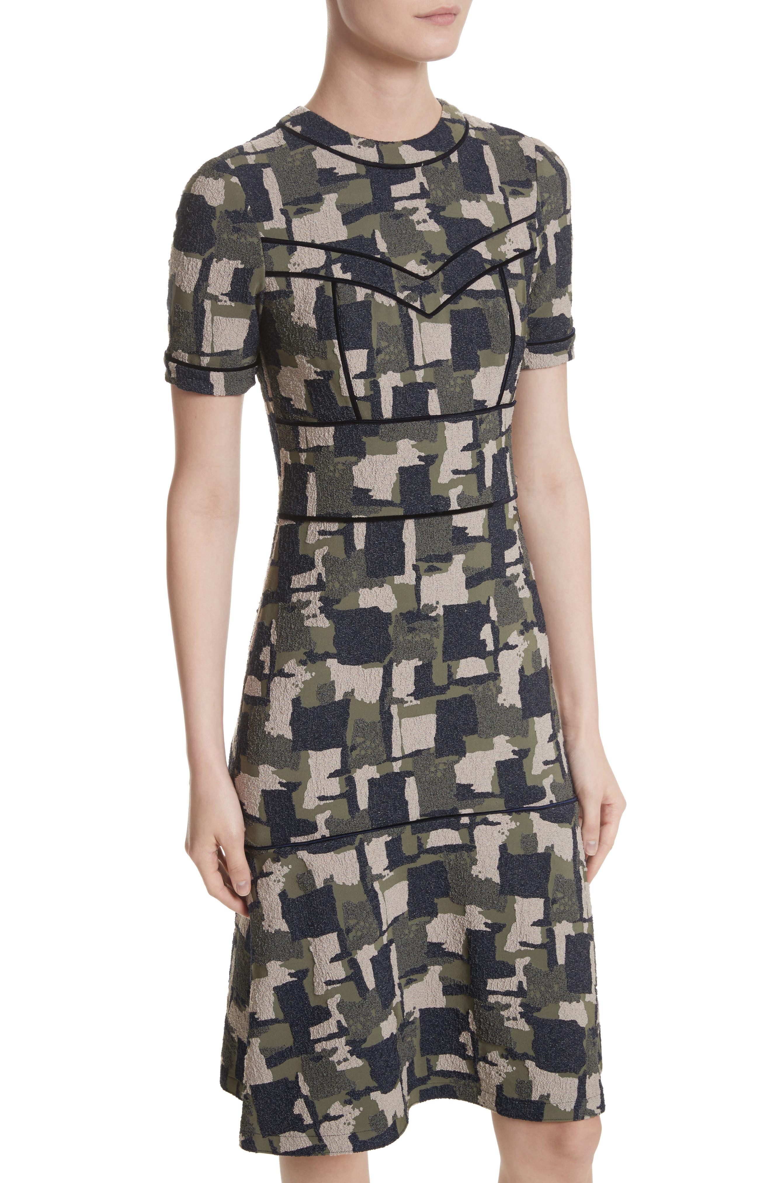 Patchwork Stretch Jacquard Dress,                             Alternate thumbnail 4, color,