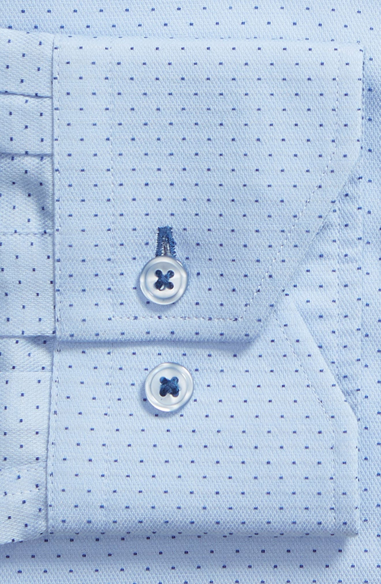 LORENZO UOMO,                             Trim Fit Dot Dress Shirt,                             Alternate thumbnail 6, color,                             LT BLUE