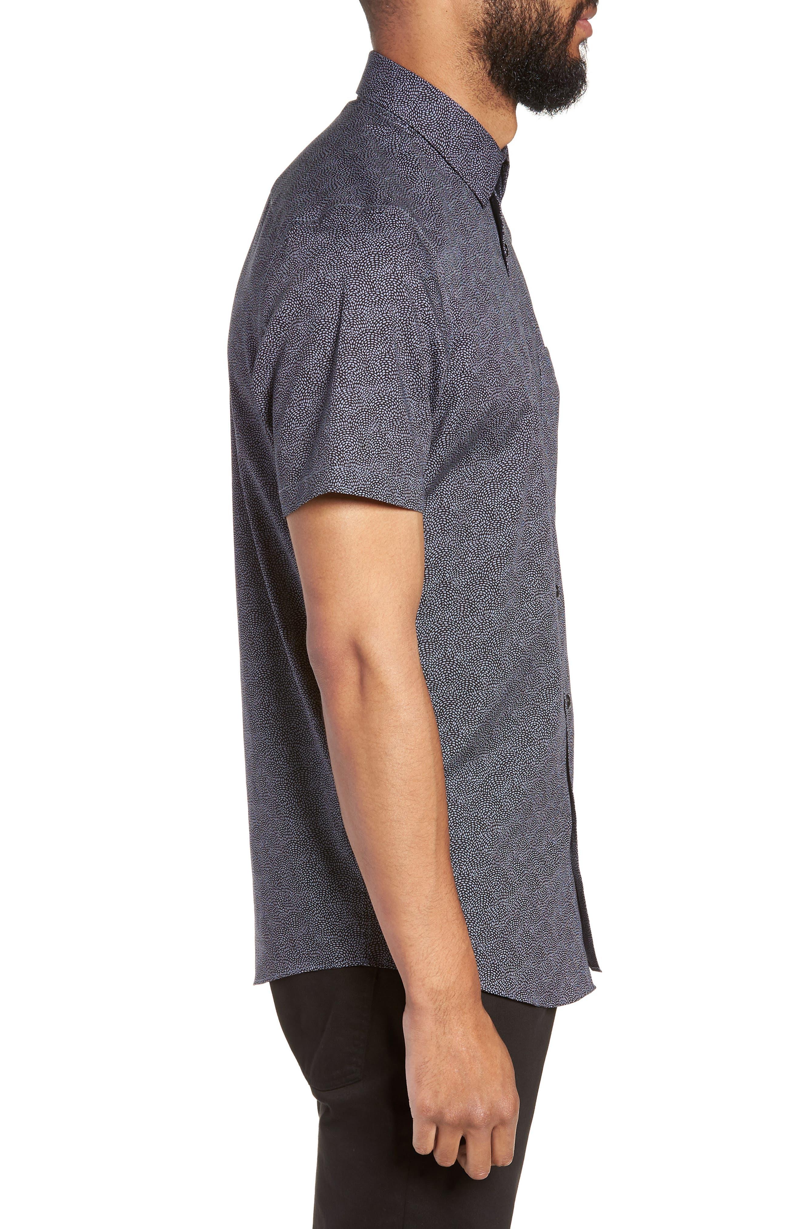 Slim Fit Print Non-Iron Sport Shirt,                             Alternate thumbnail 3, color,                             GREY FOLKSTONE BLACK DOT