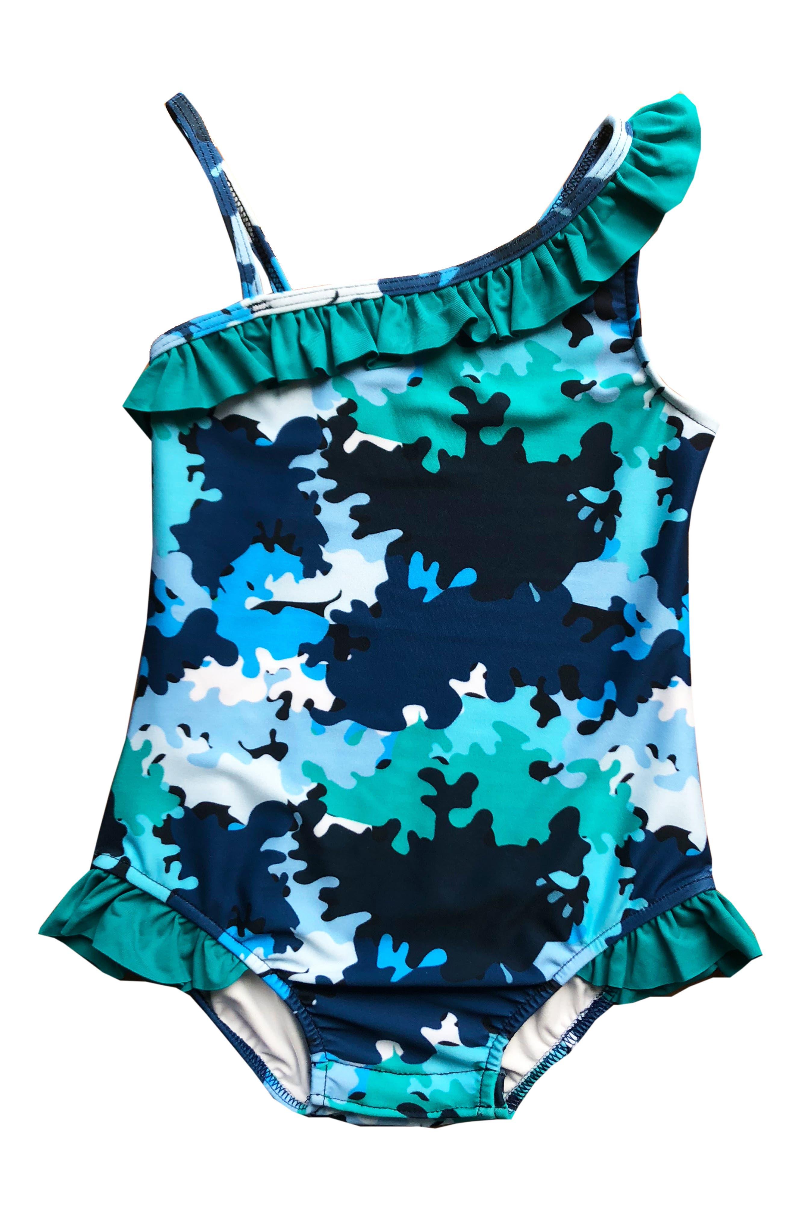 Asymmetrical Ruffle One-Piece Swimsuit,                             Main thumbnail 1, color,                             VALOUR