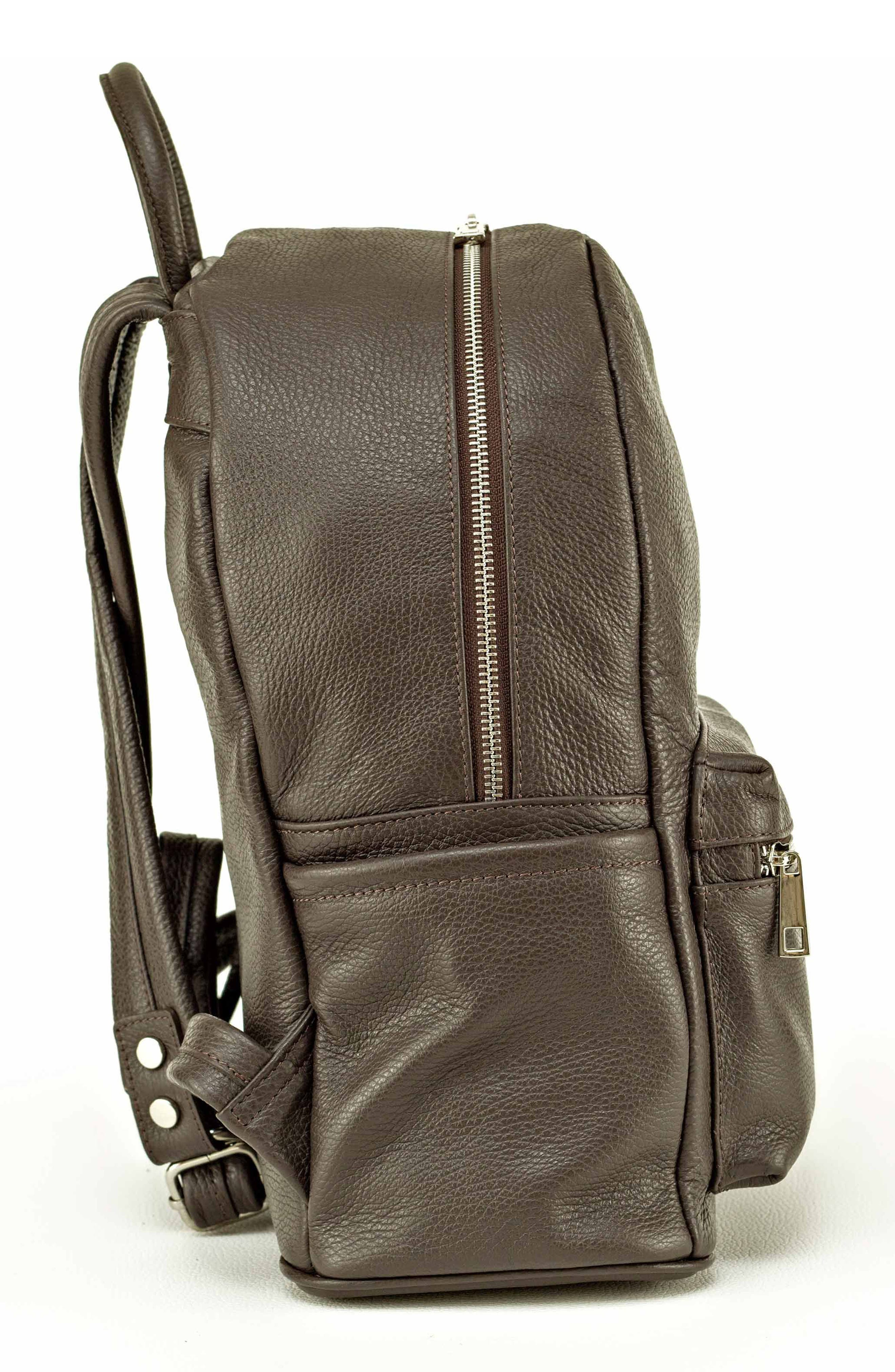Leather Backpack,                             Alternate thumbnail 2, color,                             MARRONE